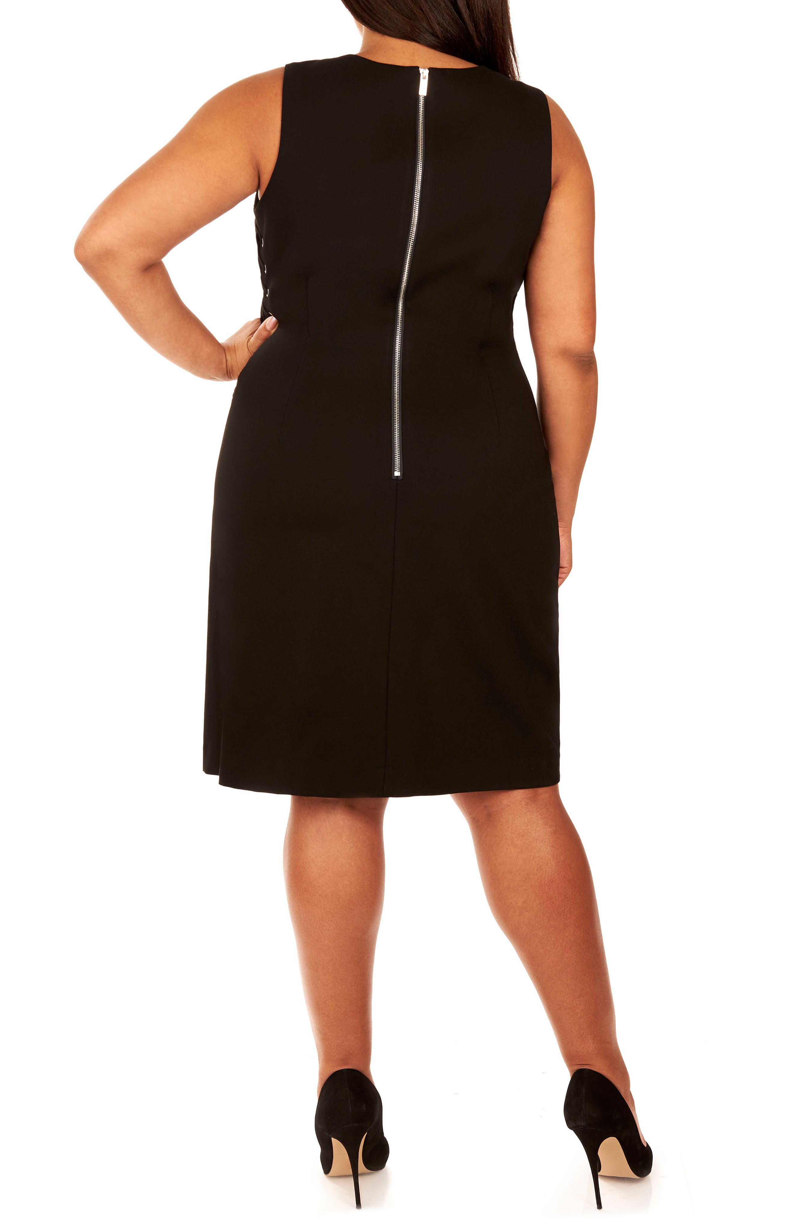 Lace-Up Body-Con Dress,                             Alternate thumbnail 2, color,                             002