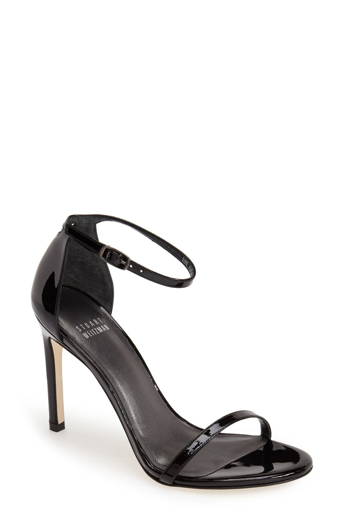 Nudistsong Ankle Strap Sandal,                         Main,                         color, BLACK PATENT