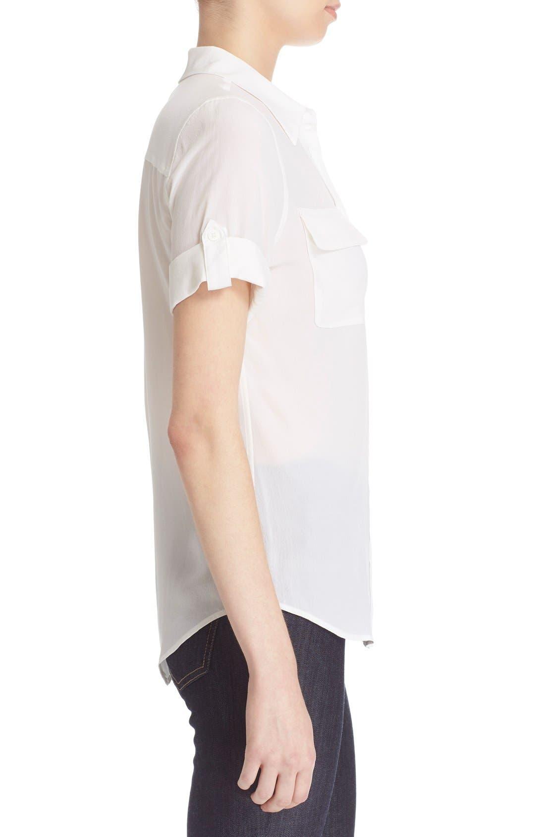 Slim Signature Short Sleeve Silk Shirt,                             Alternate thumbnail 9, color,                             111