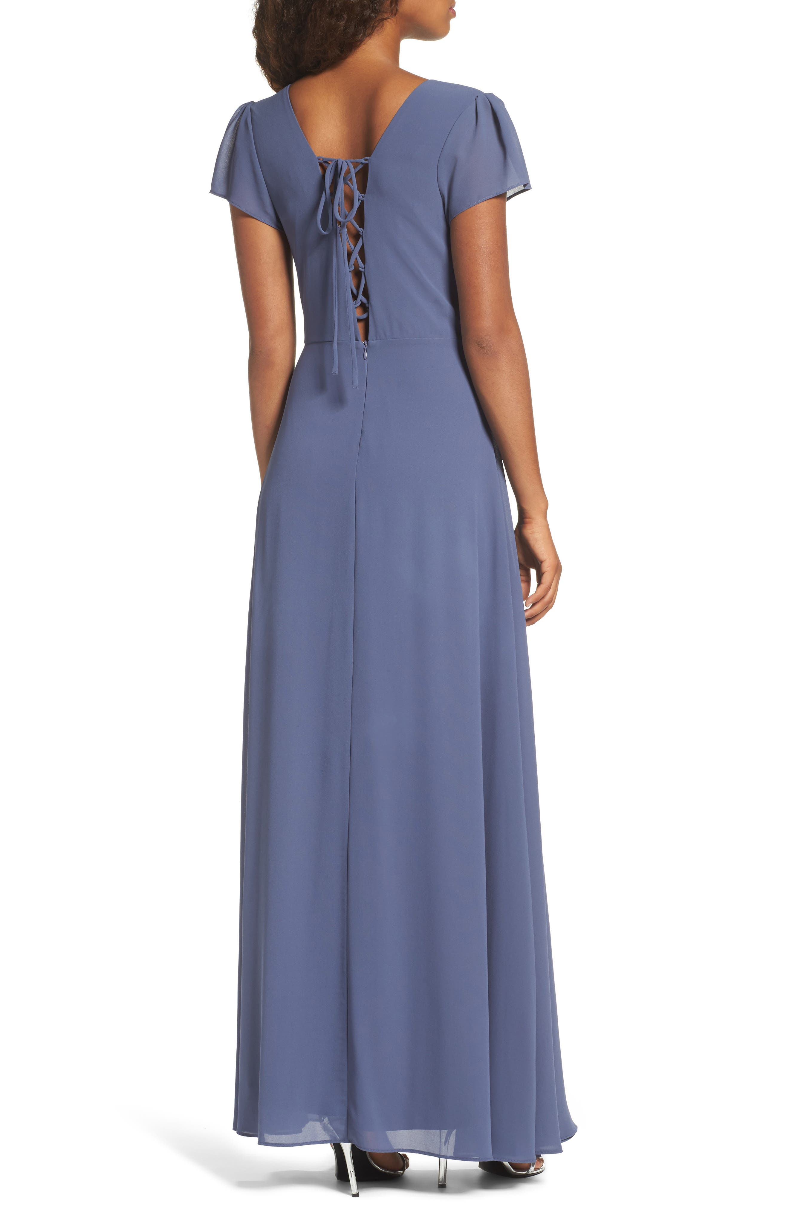 Lace-Up Back Chiffon Gown,                             Alternate thumbnail 3, color,