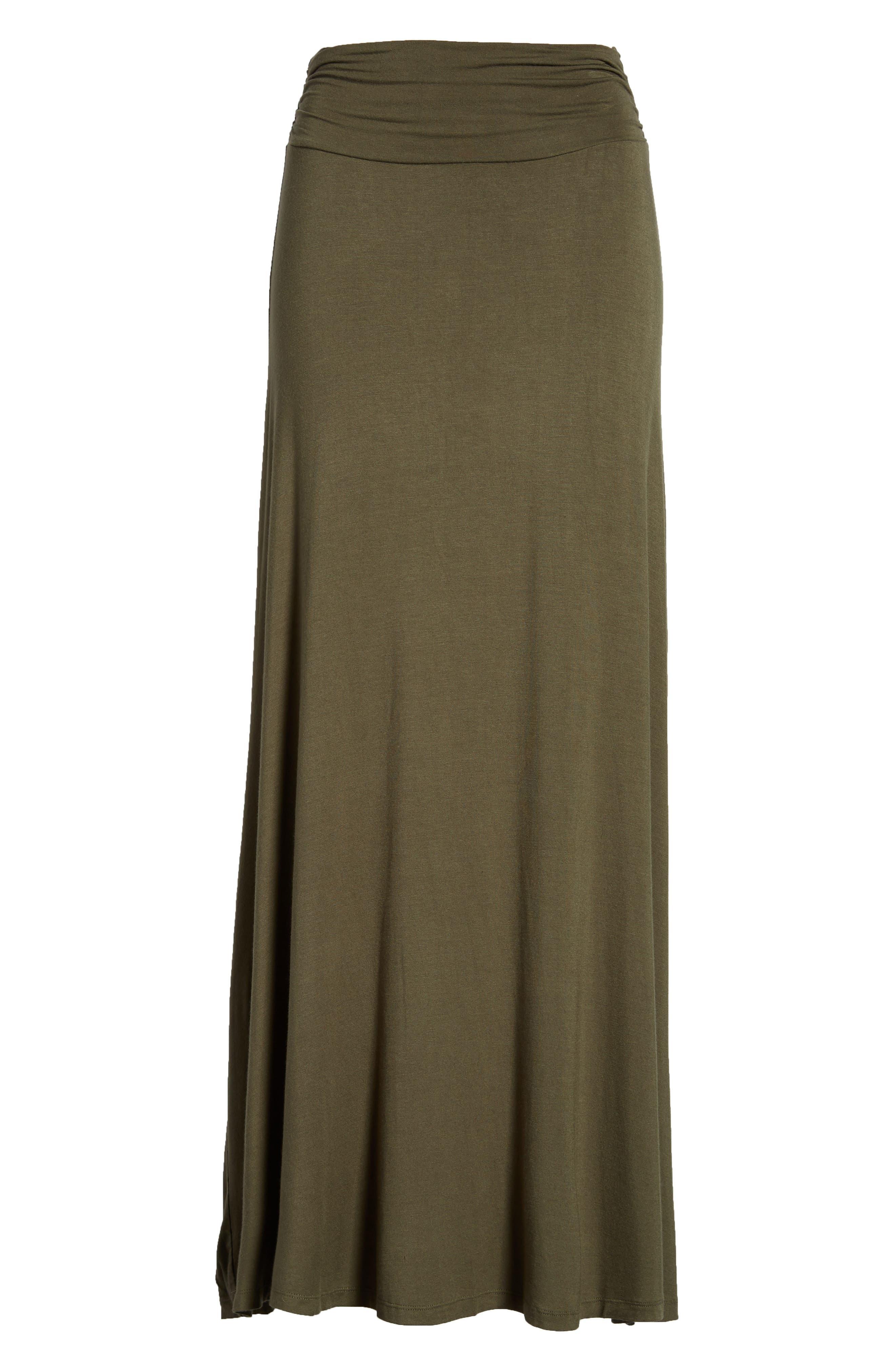 Ruched Waist Side Slit Maxi Skirt,                             Alternate thumbnail 6, color,                             302