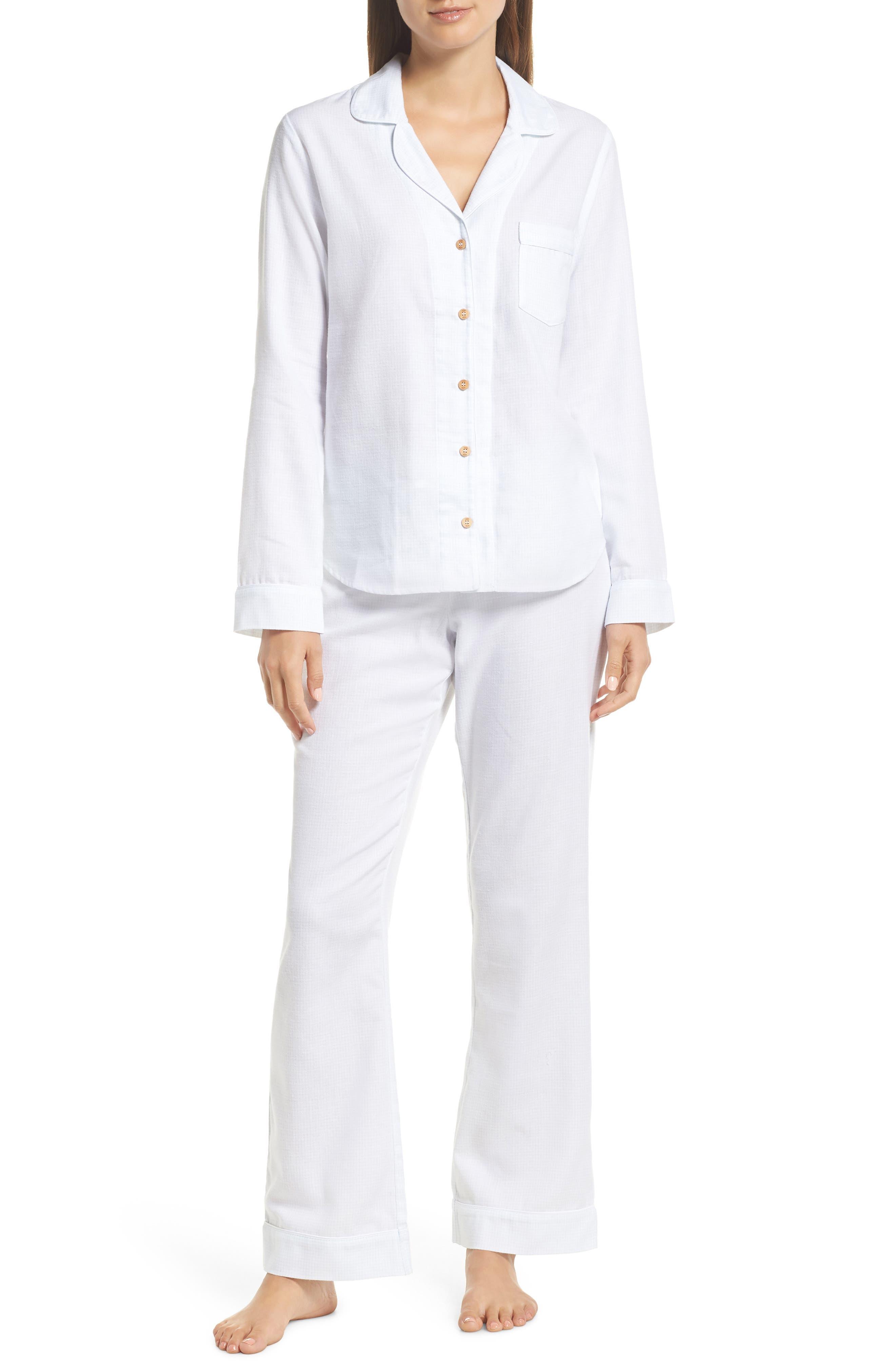 Raven Plaid Pajamas,                             Main thumbnail 1, color,                             WHITE / SKY BLUE CHECK