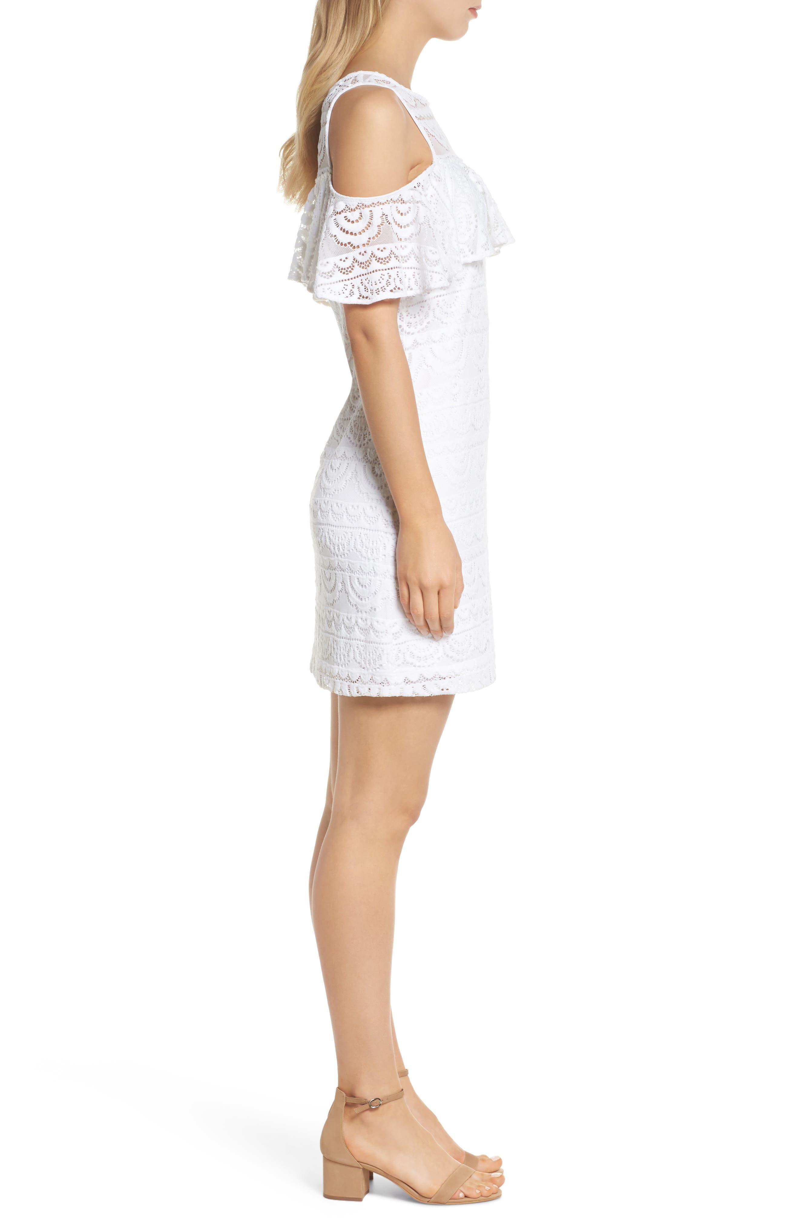 Lyra Cold Shoulder Lace Dress,                             Alternate thumbnail 3, color,                             100