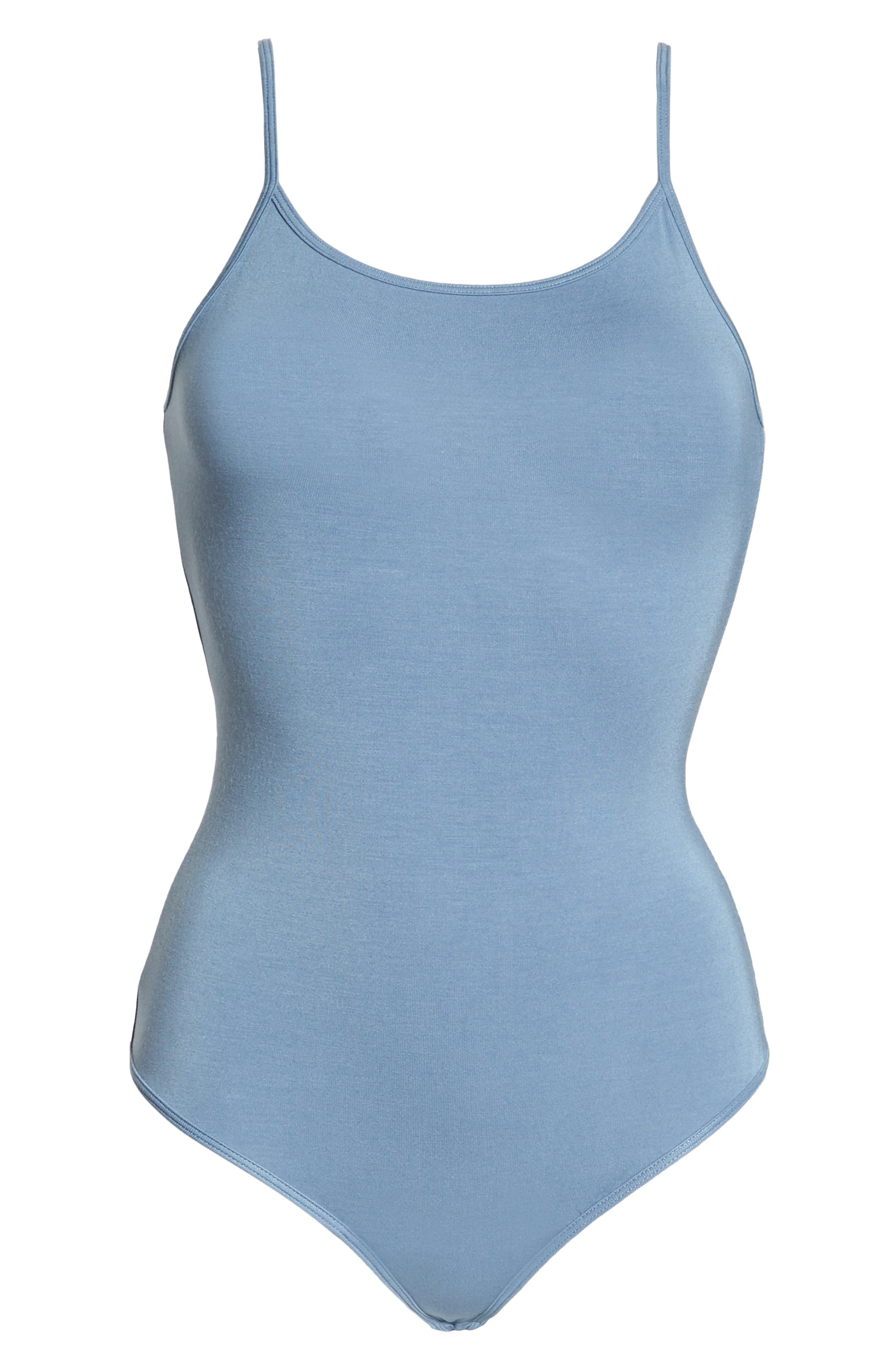 Scoop Back Thong Bodysuit,                             Alternate thumbnail 6, color,                             CARBON BLUE
