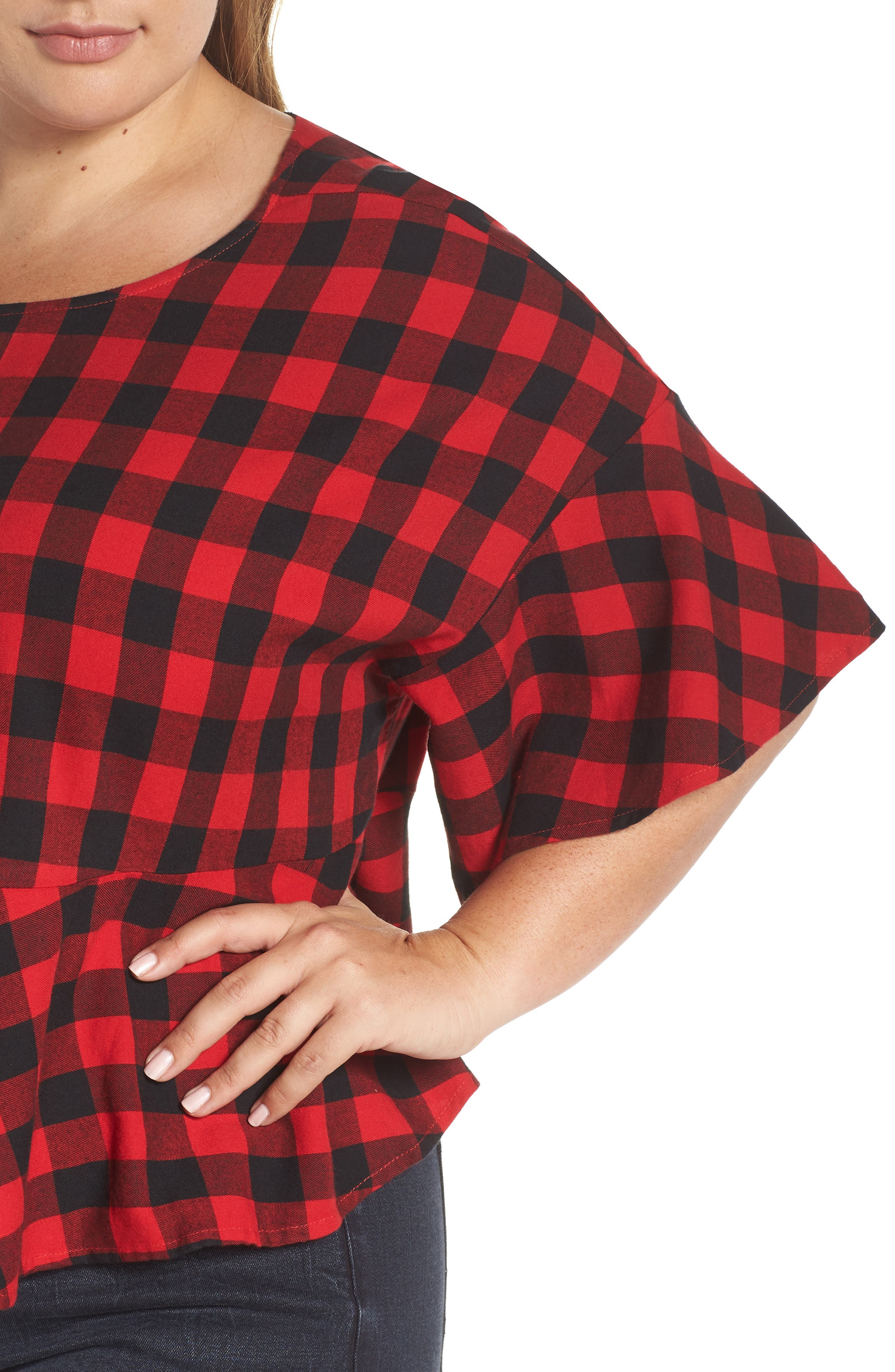 Plaid Peplum Top,                             Alternate thumbnail 4, color,                             RED CHINOISE DARCY CHECK