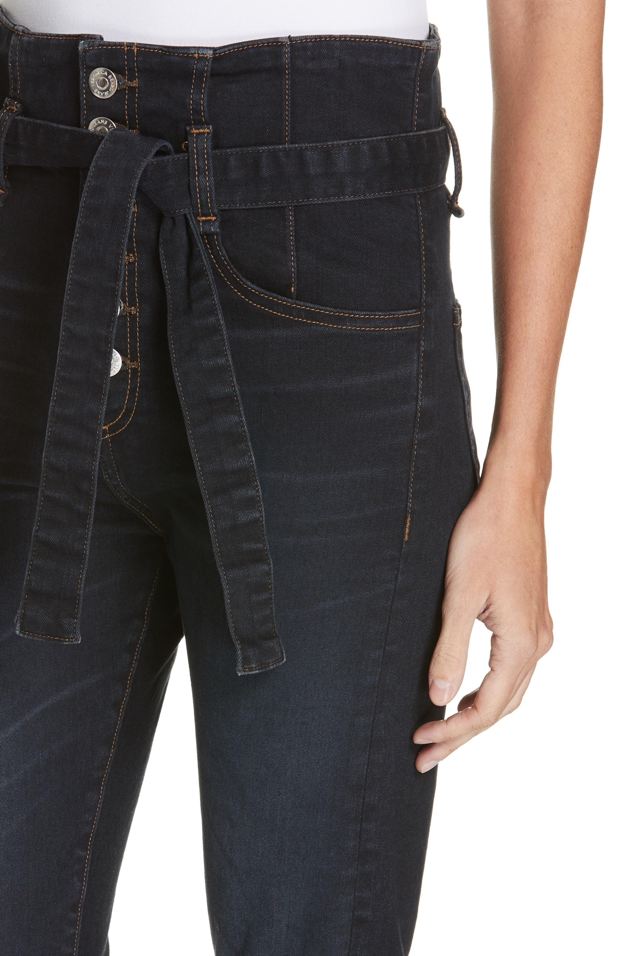 Keith Corset Waist Skinny Jeans,                             Alternate thumbnail 4, color,                             DARK SLATE