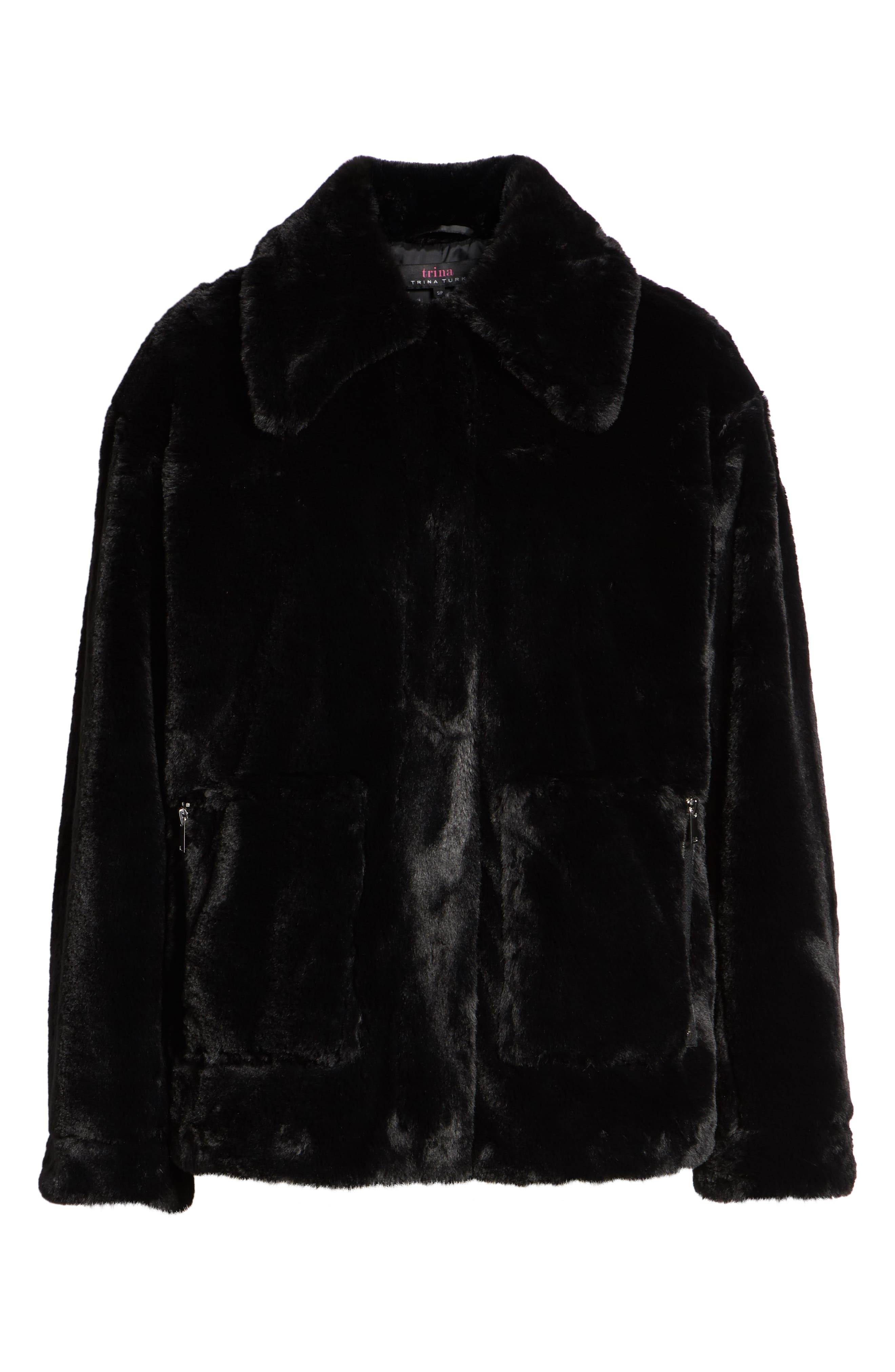 Salma Faux Fur Jacket,                             Alternate thumbnail 6, color,                             BLACK