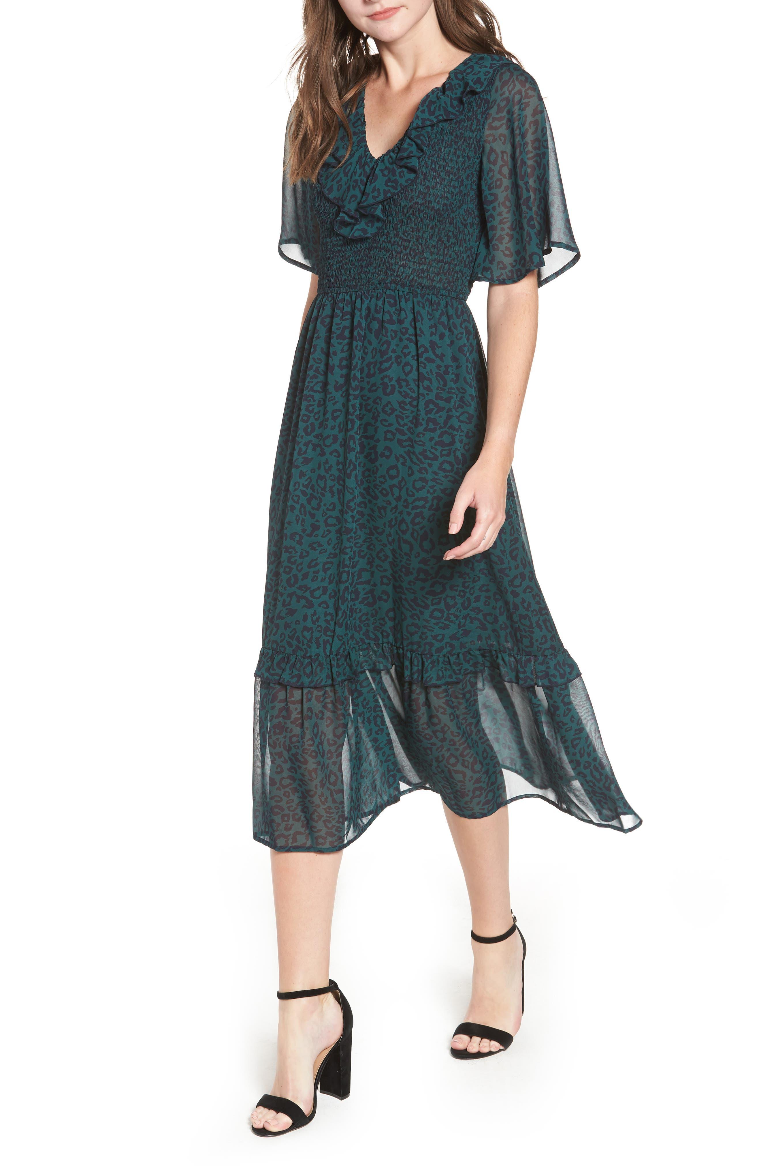 Leopard Print Smocked Dress,                         Main,                         color, GREEN LEOPARD