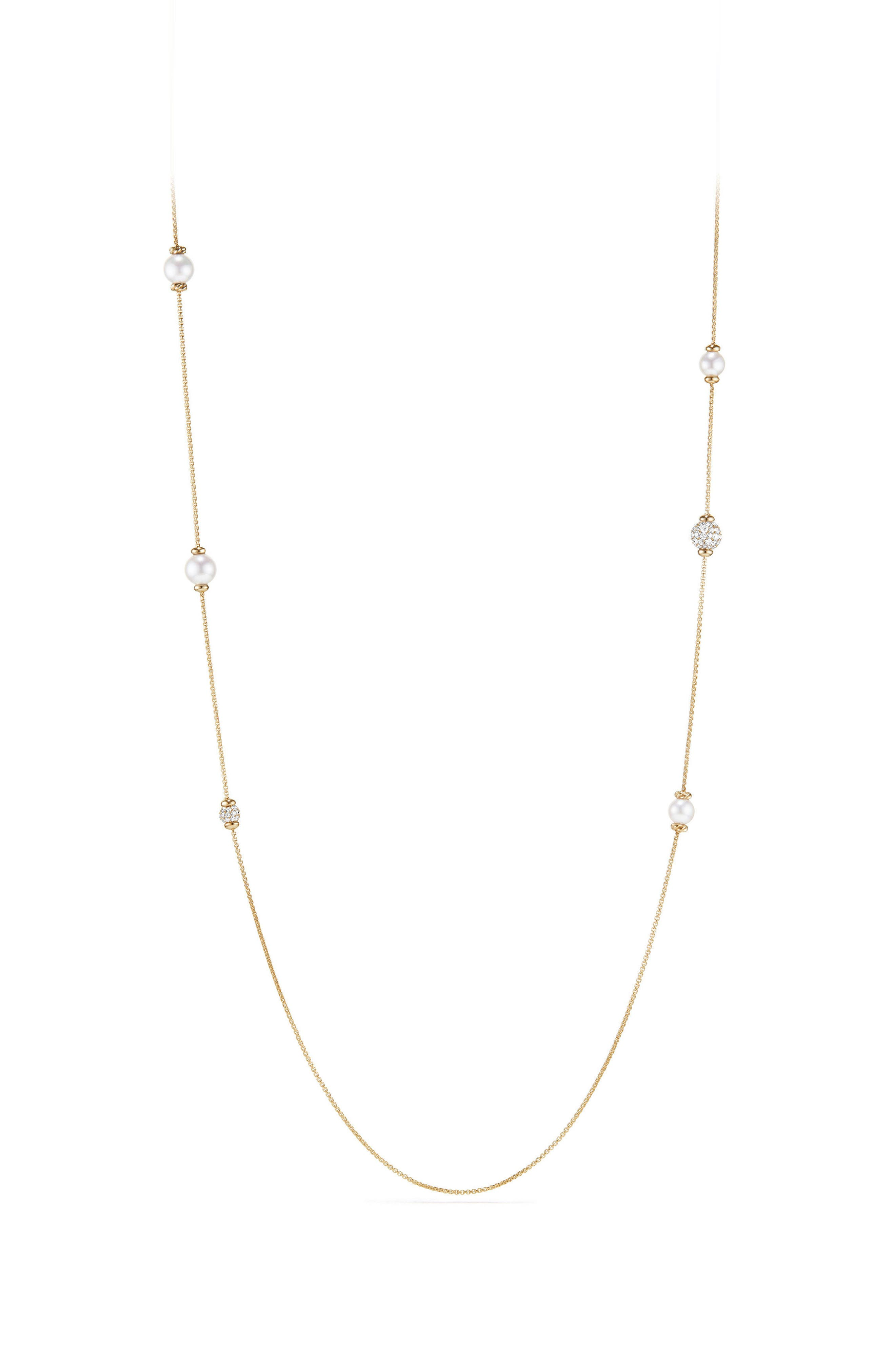Solari Long Station Necklace with Pearls & Diamonds in 18K Yellow Gold,                         Main,                         color, YELLOW GOLD/ DIAMOND/ PEARL
