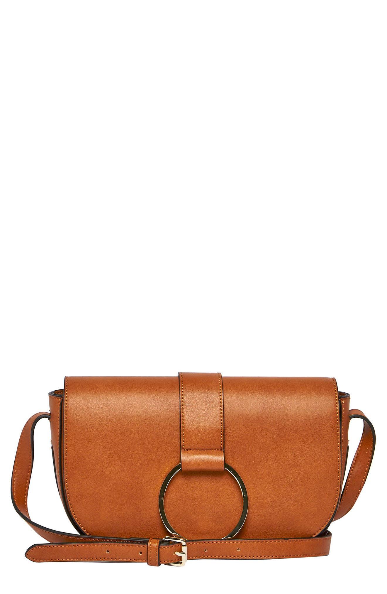 Lola Vegan Leather Crossbody Saddle Bag,                         Main,                         color, TAN