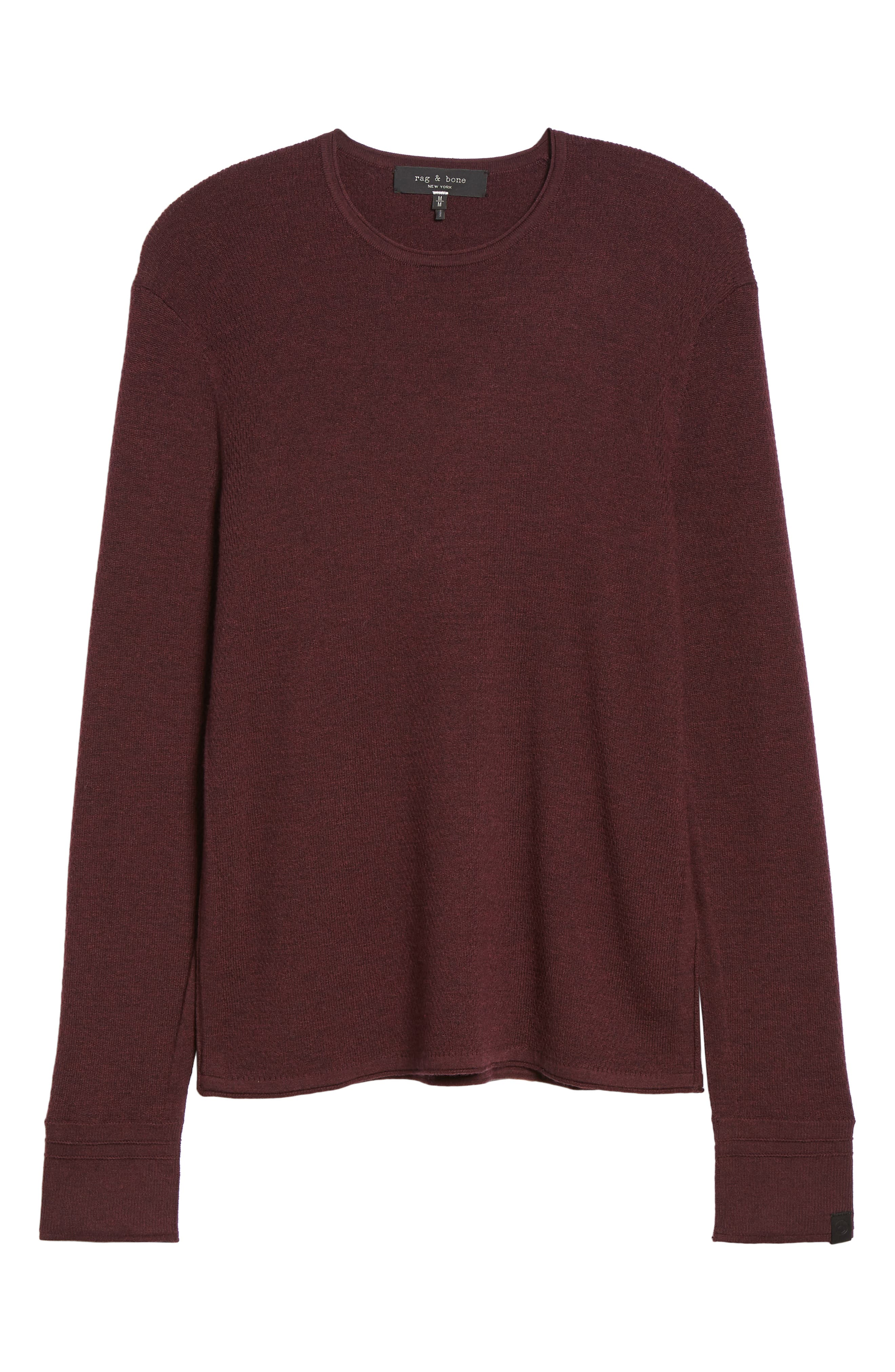 Gregory Merino Wool Blend Crewneck Sweater,                             Alternate thumbnail 6, color,                             BURGUNDY