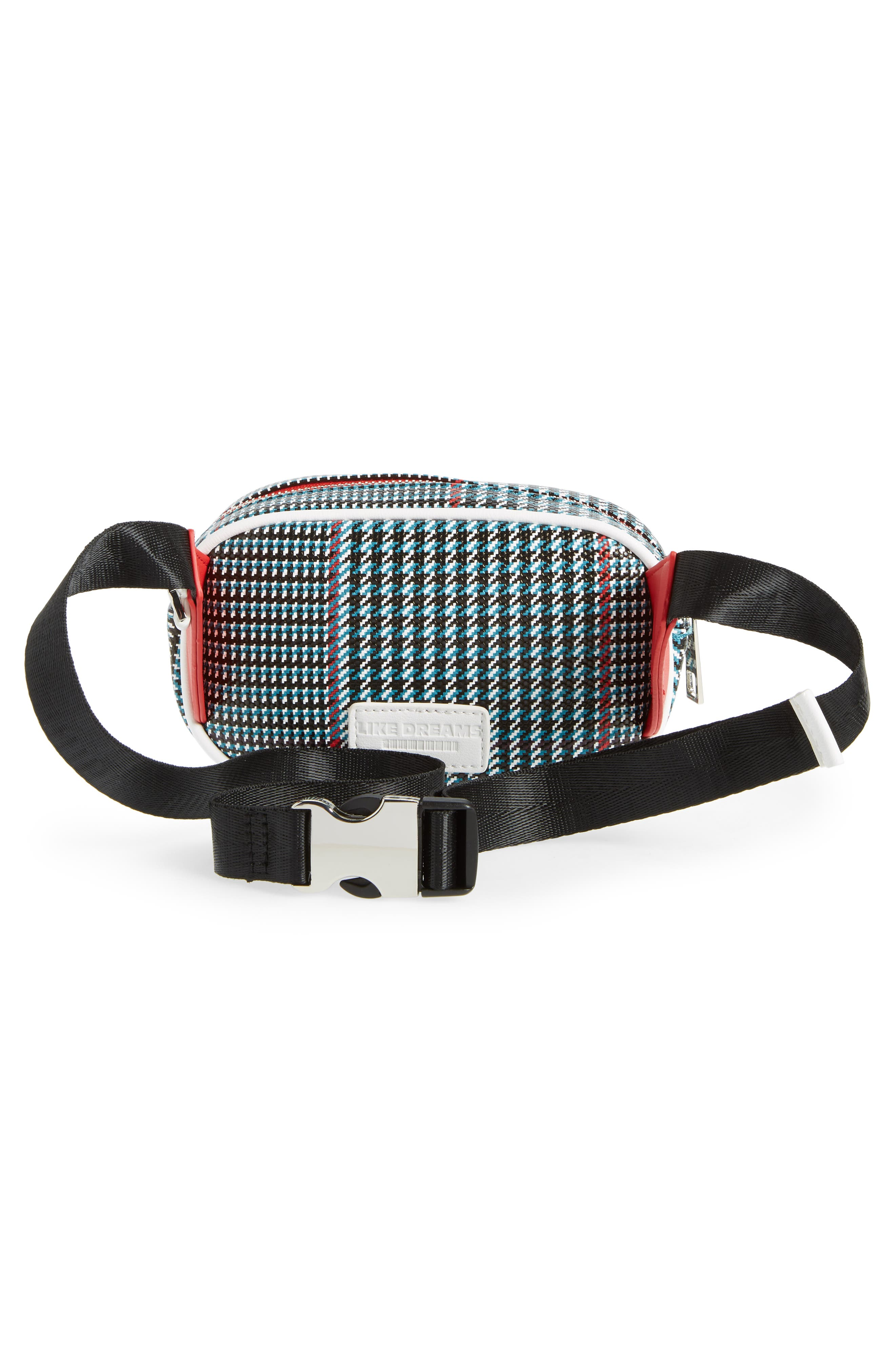 Houndstooth Belt Bag,                             Alternate thumbnail 4, color,                             BLUE MULTI