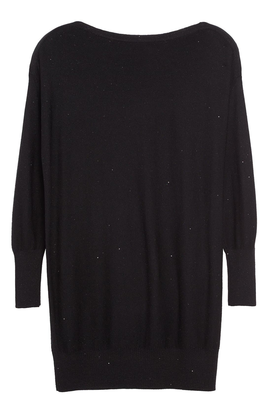 Sequin Knit Silk Blend Sweater,                             Alternate thumbnail 4, color,                             BLACK