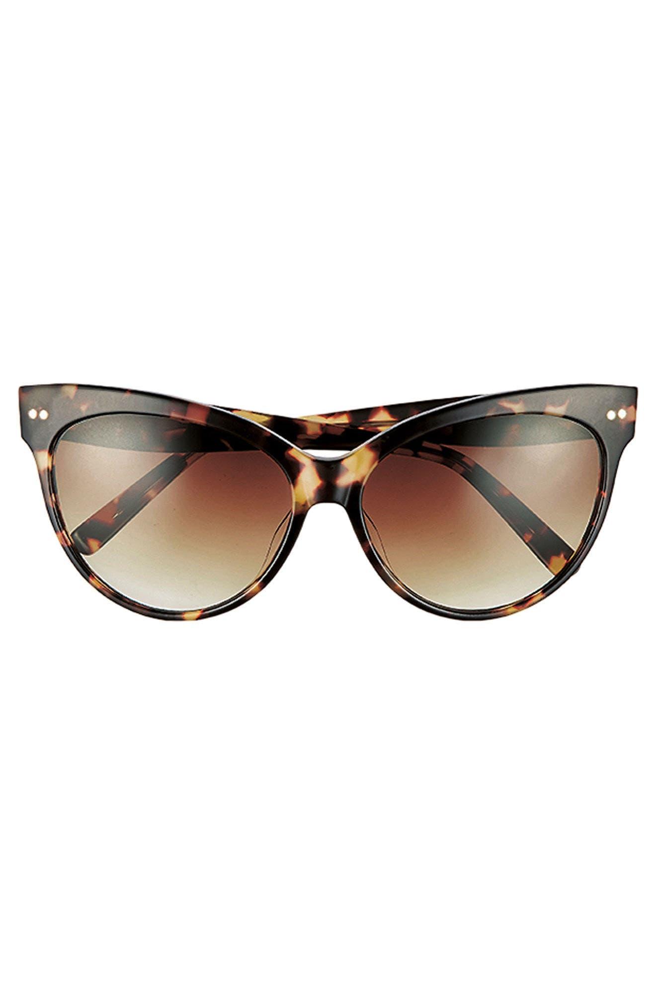 Audrey 60mm Cat Eye Sunglasses,                             Alternate thumbnail 4, color,                             WHITE