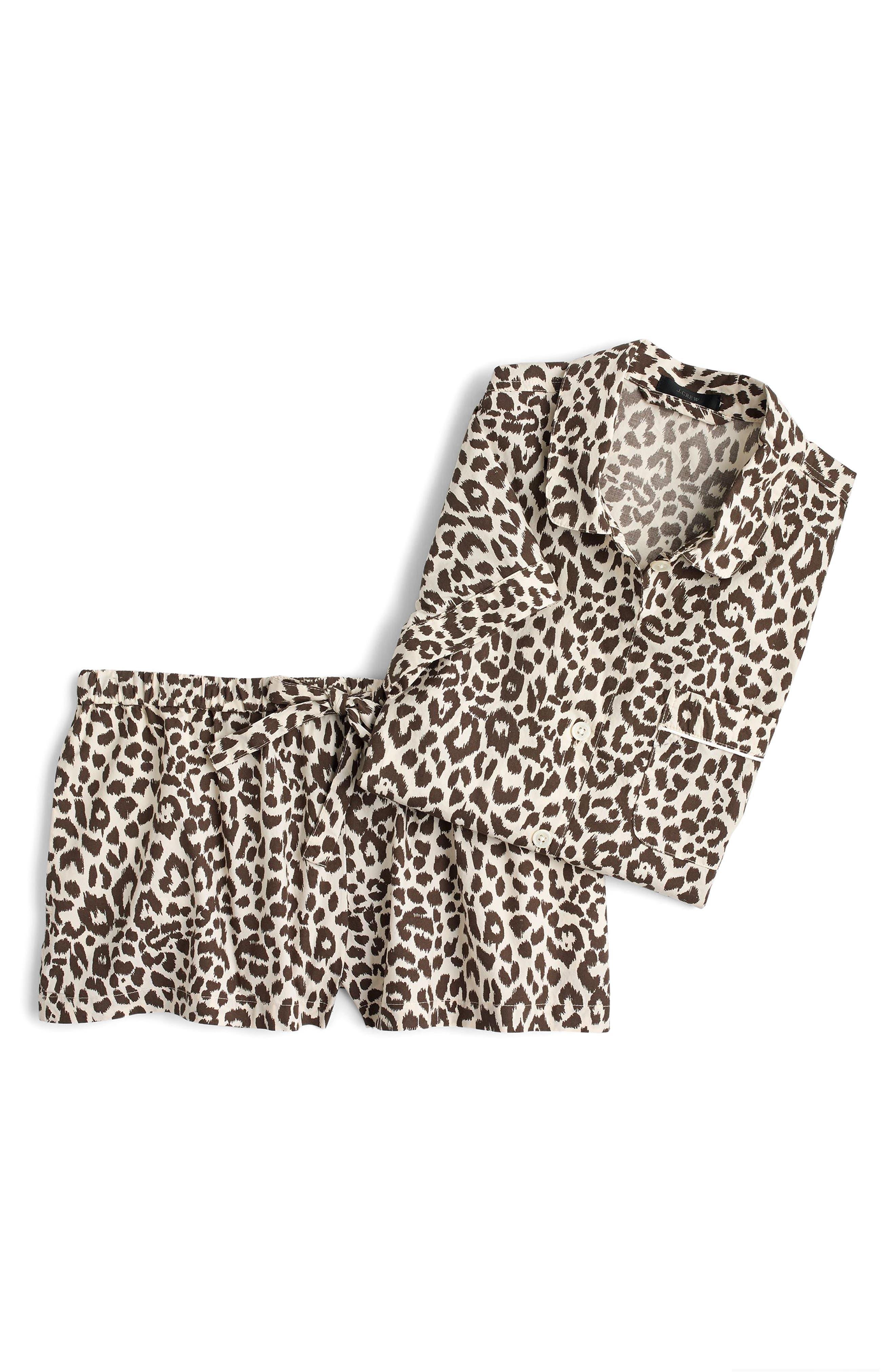 Leopard Print Cotton Pajamas,                             Alternate thumbnail 3, color,                             MULTI