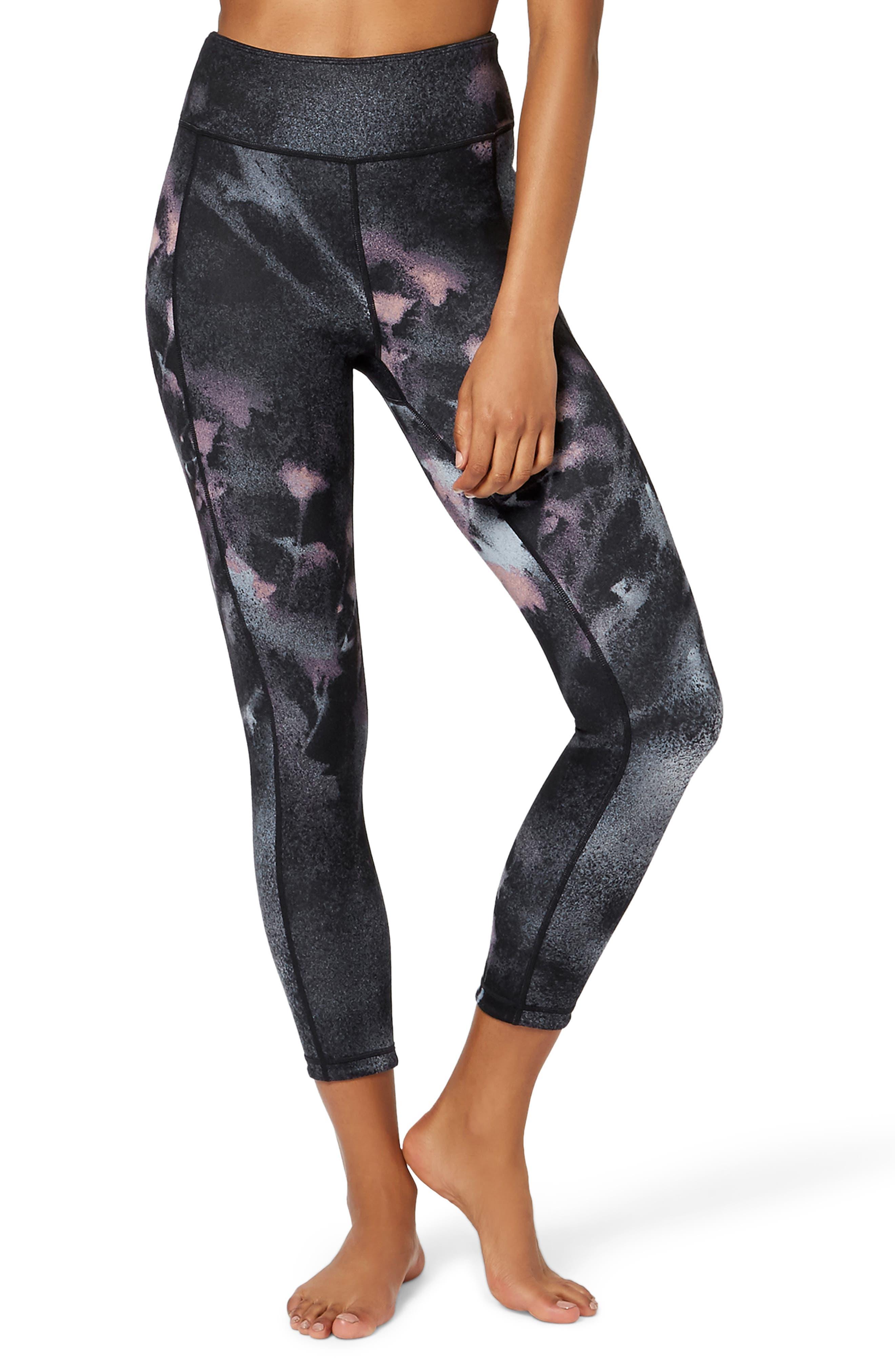 Double Duty Reversible Yoga Leggings,                             Main thumbnail 1, color,                             BLACK SPRAY PAINT FLORAL