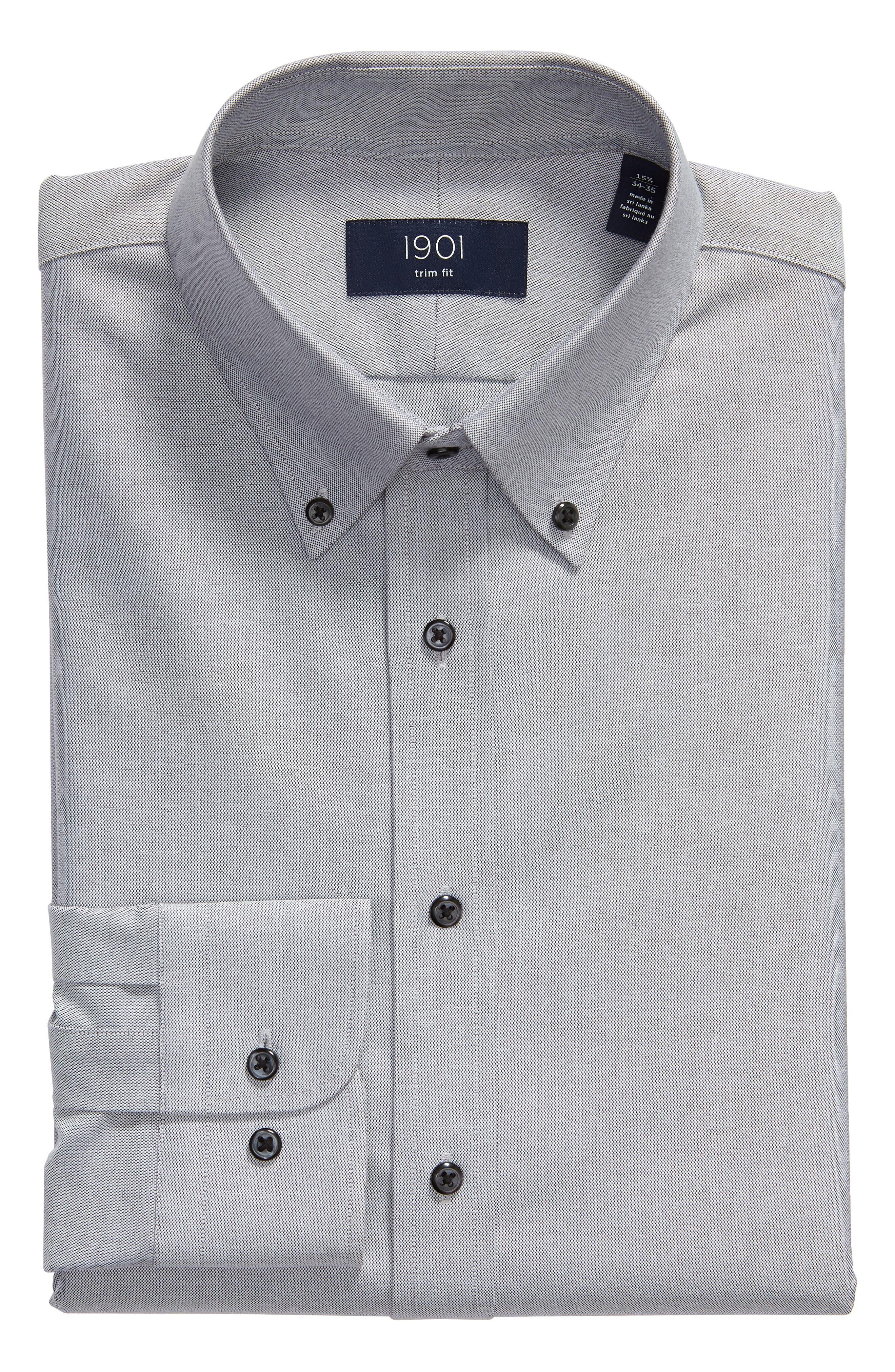 Trim Fit Oxford Dress Shirt,                             Alternate thumbnail 5, color,                             GREY FEATHER