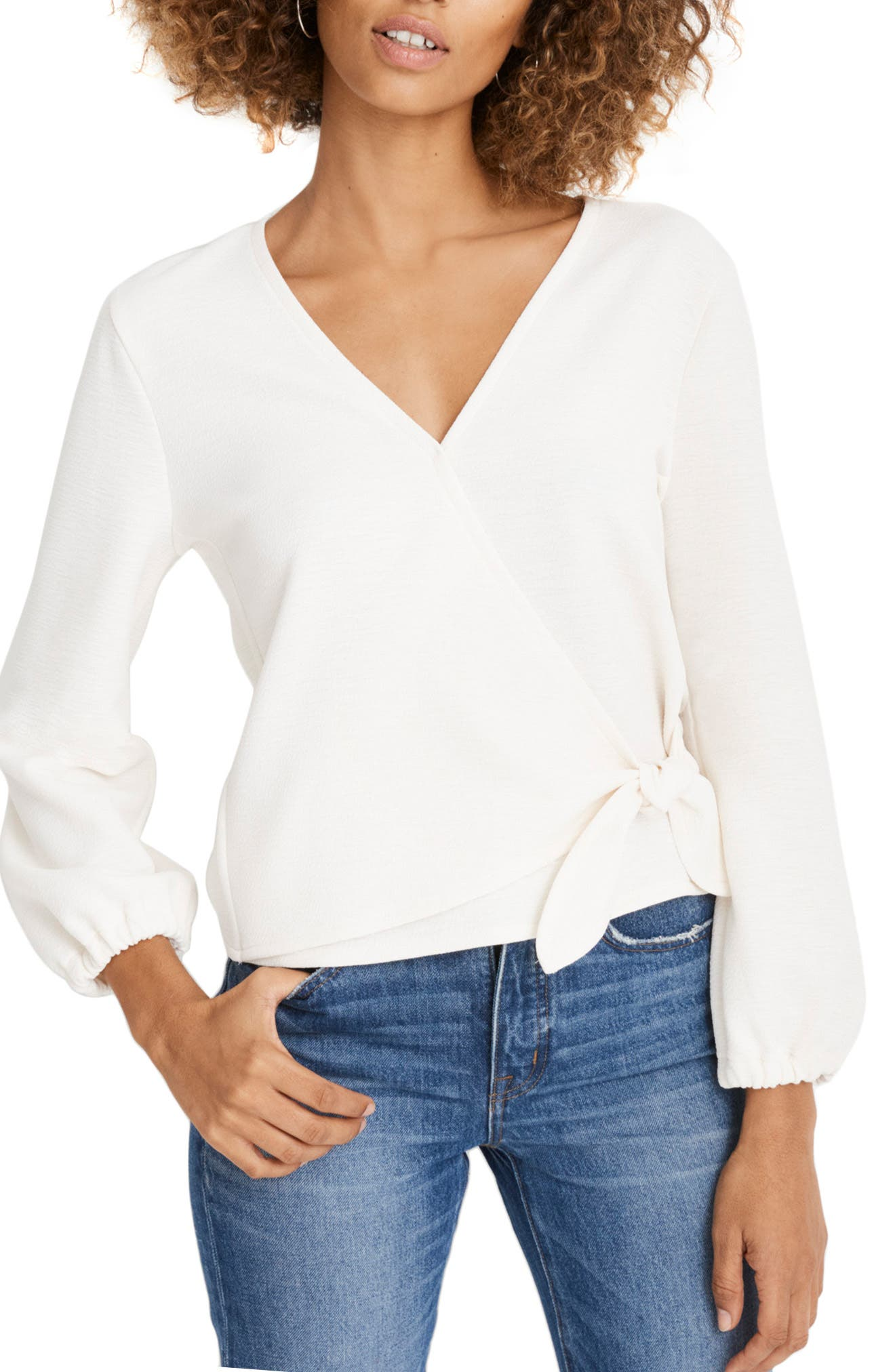 Texture & Thread Crepe Wrap Top in Pearl Ivory
