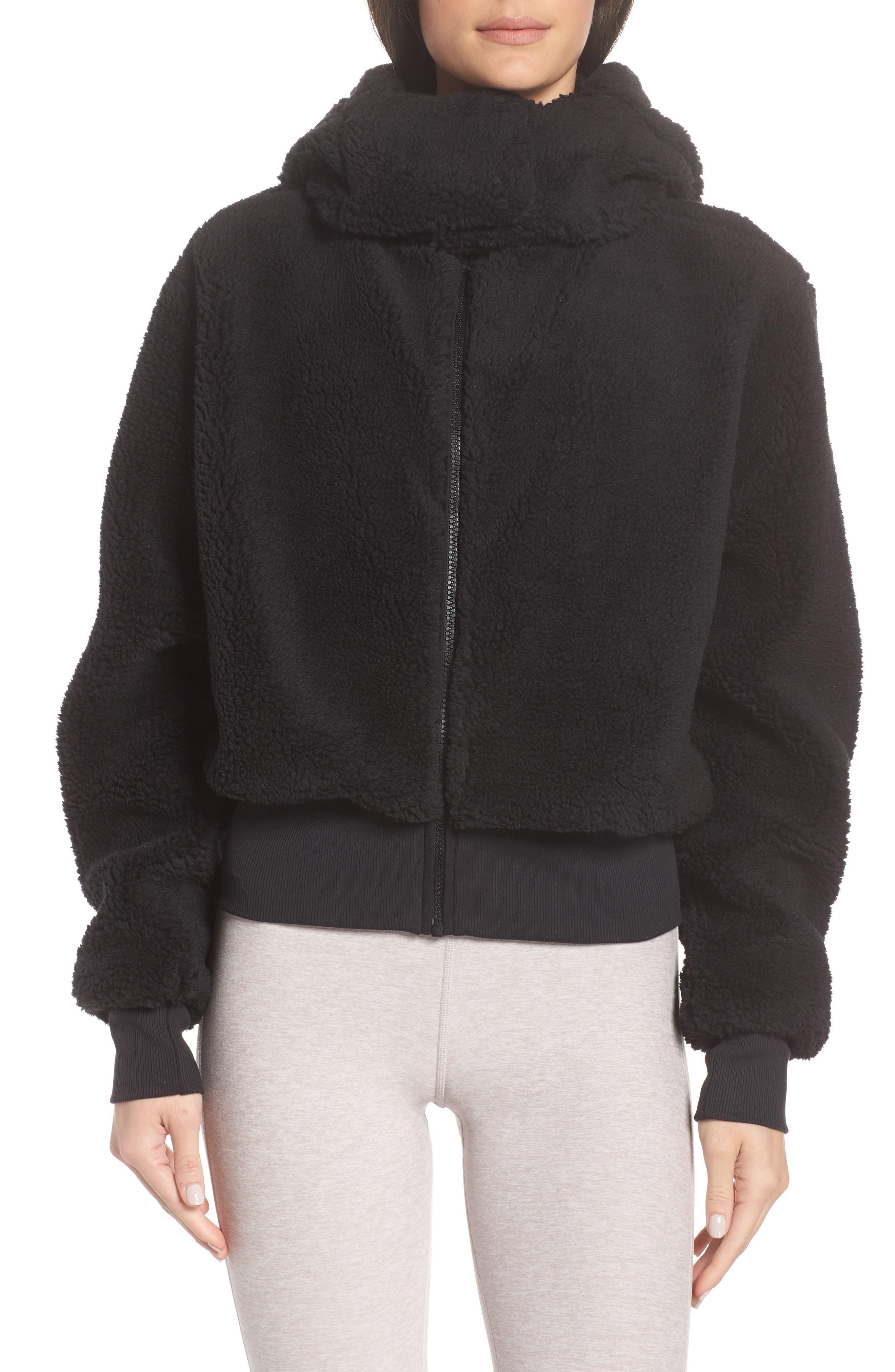 Foxy Faux Fur Jacket,                             Alternate thumbnail 4, color,                             BLACK