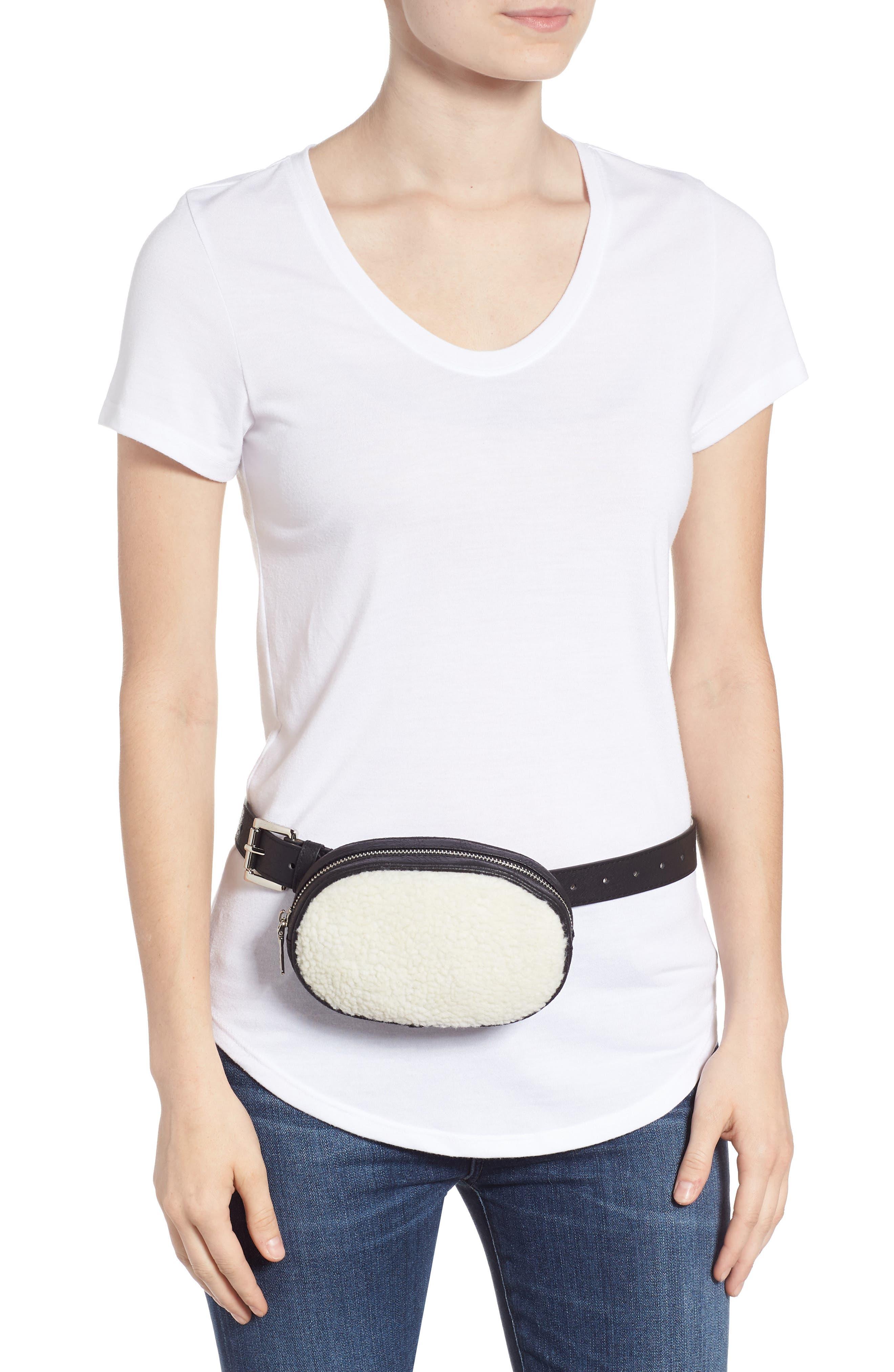 Faux Shearling Belt Bag,                             Alternate thumbnail 2, color,                             BLACK/ NATURAL