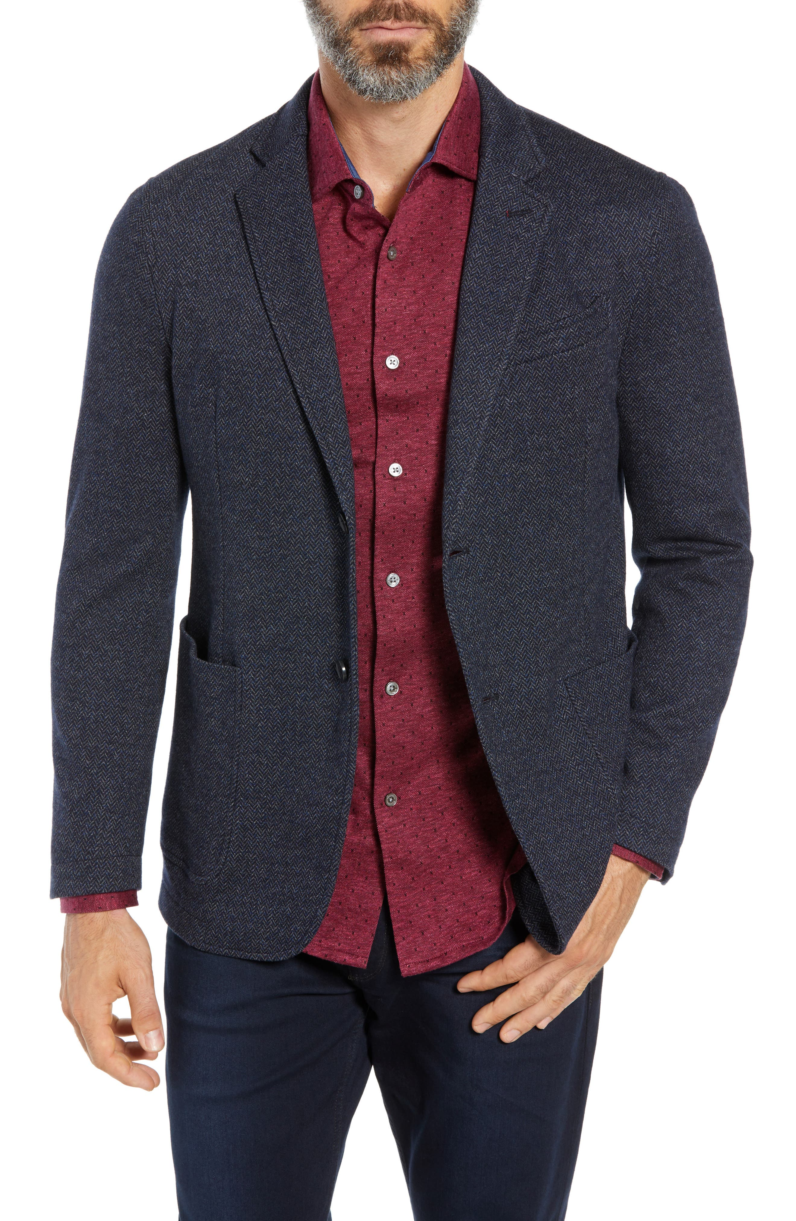 BUGATCHI Cotton & Wool Sport Coat in Night Blue