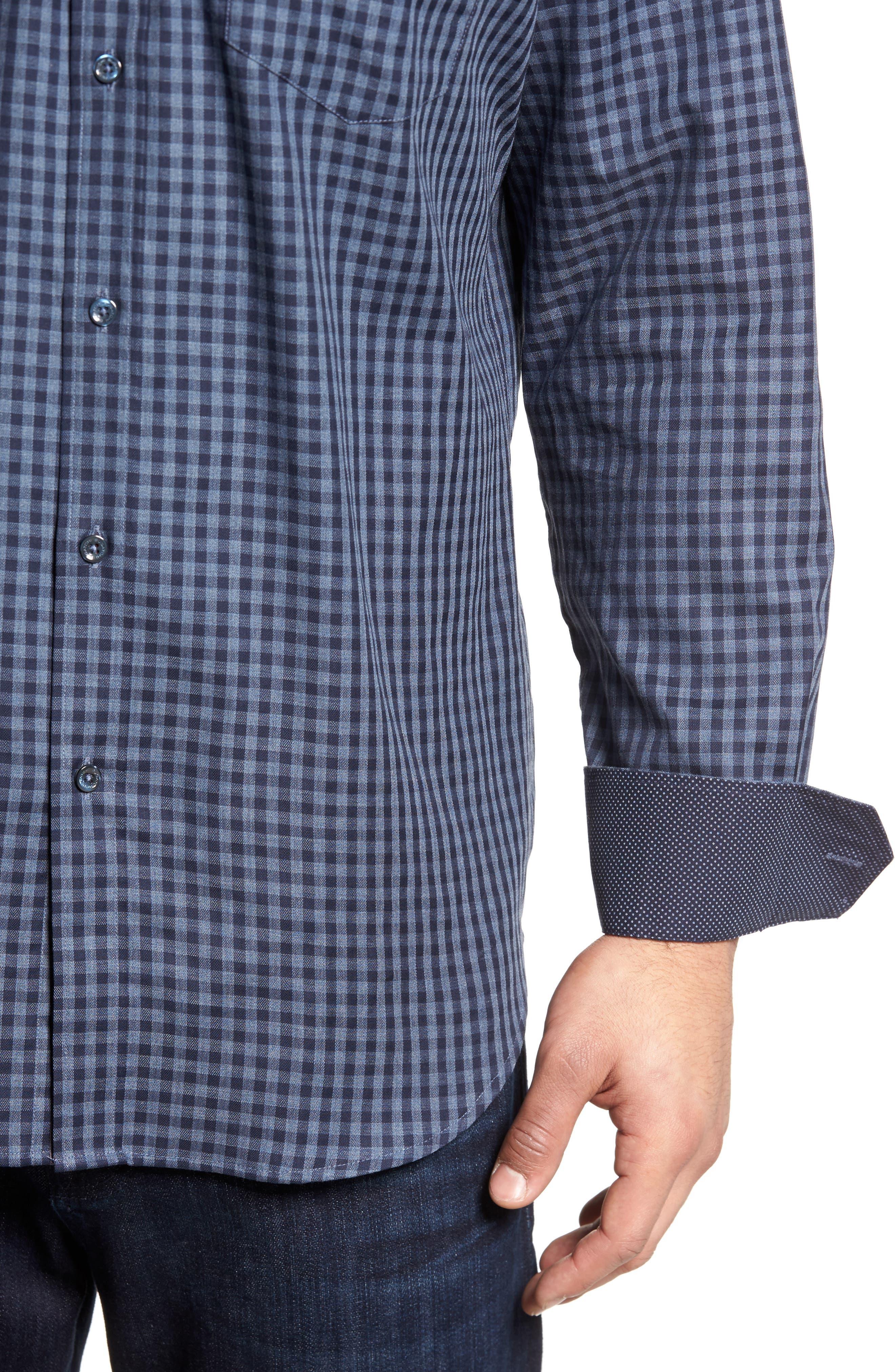 Classic Fit Herringbone Gingham Sport Shirt,                             Alternate thumbnail 4, color,                             030