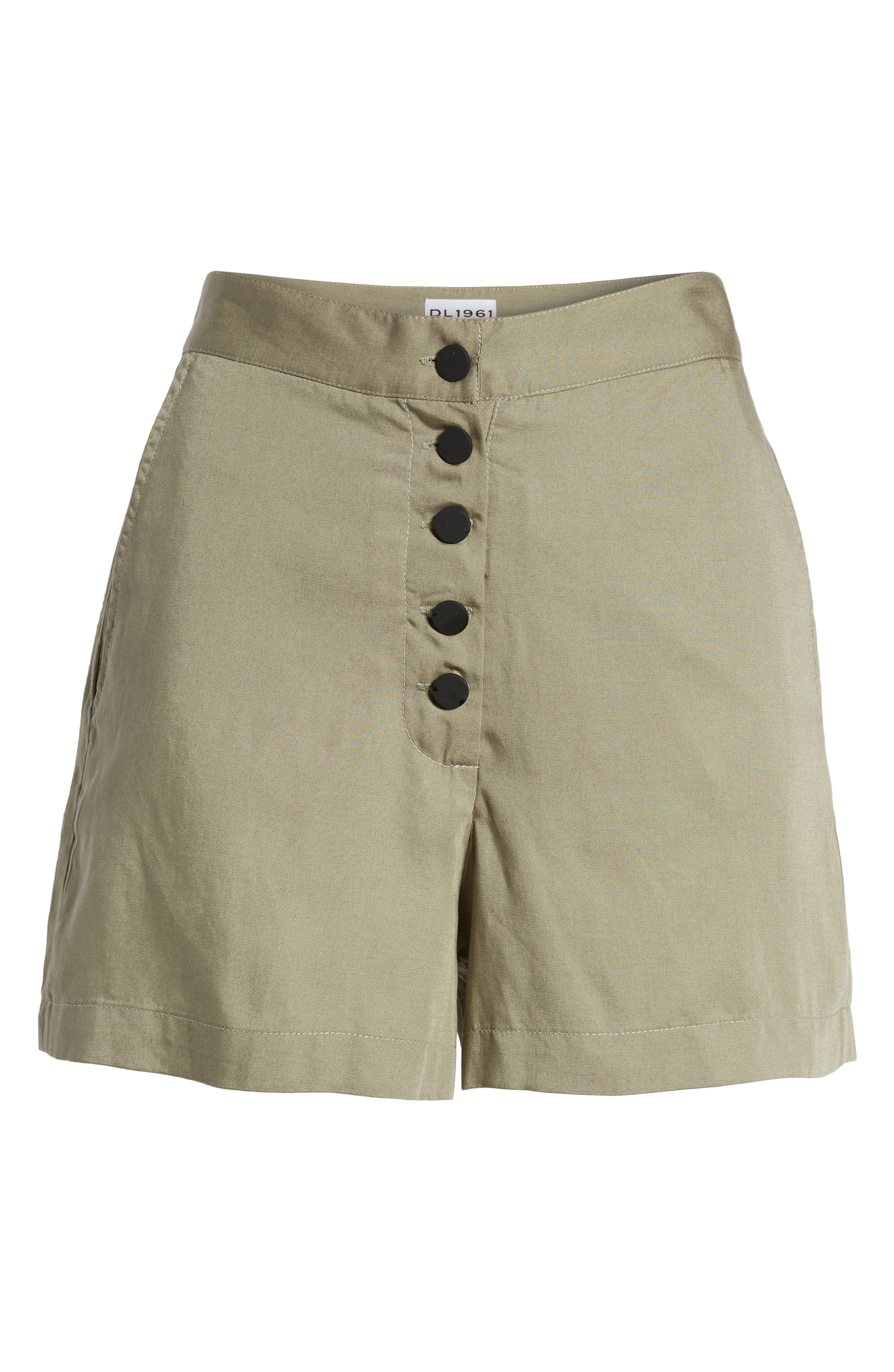 High Waist Shorts,                             Alternate thumbnail 6, color,                             SEA GRASS