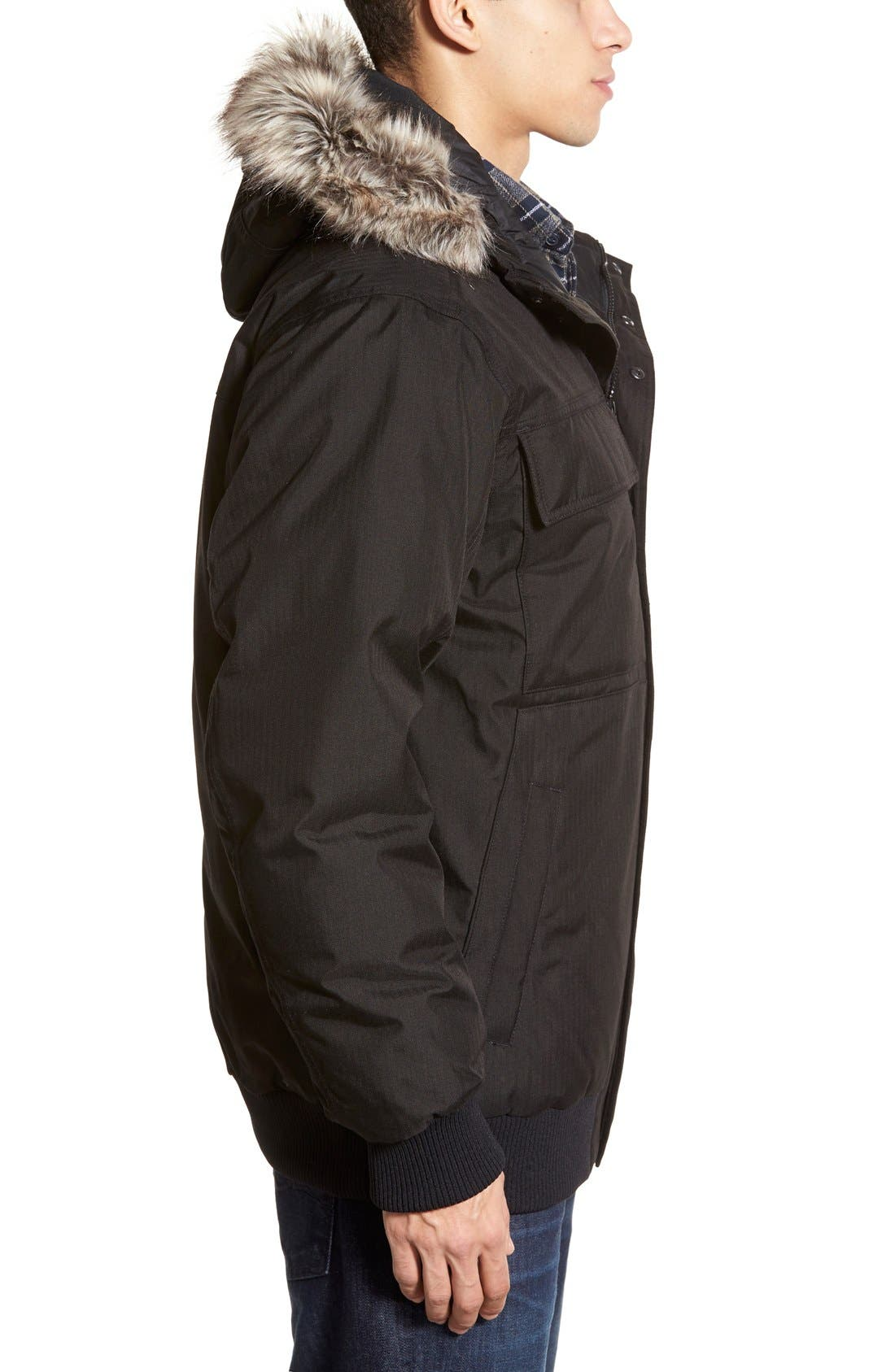 'Gotham II' Hooded Goose Down Jacket with Faux Fur Trim,                             Alternate thumbnail 4, color,                             001