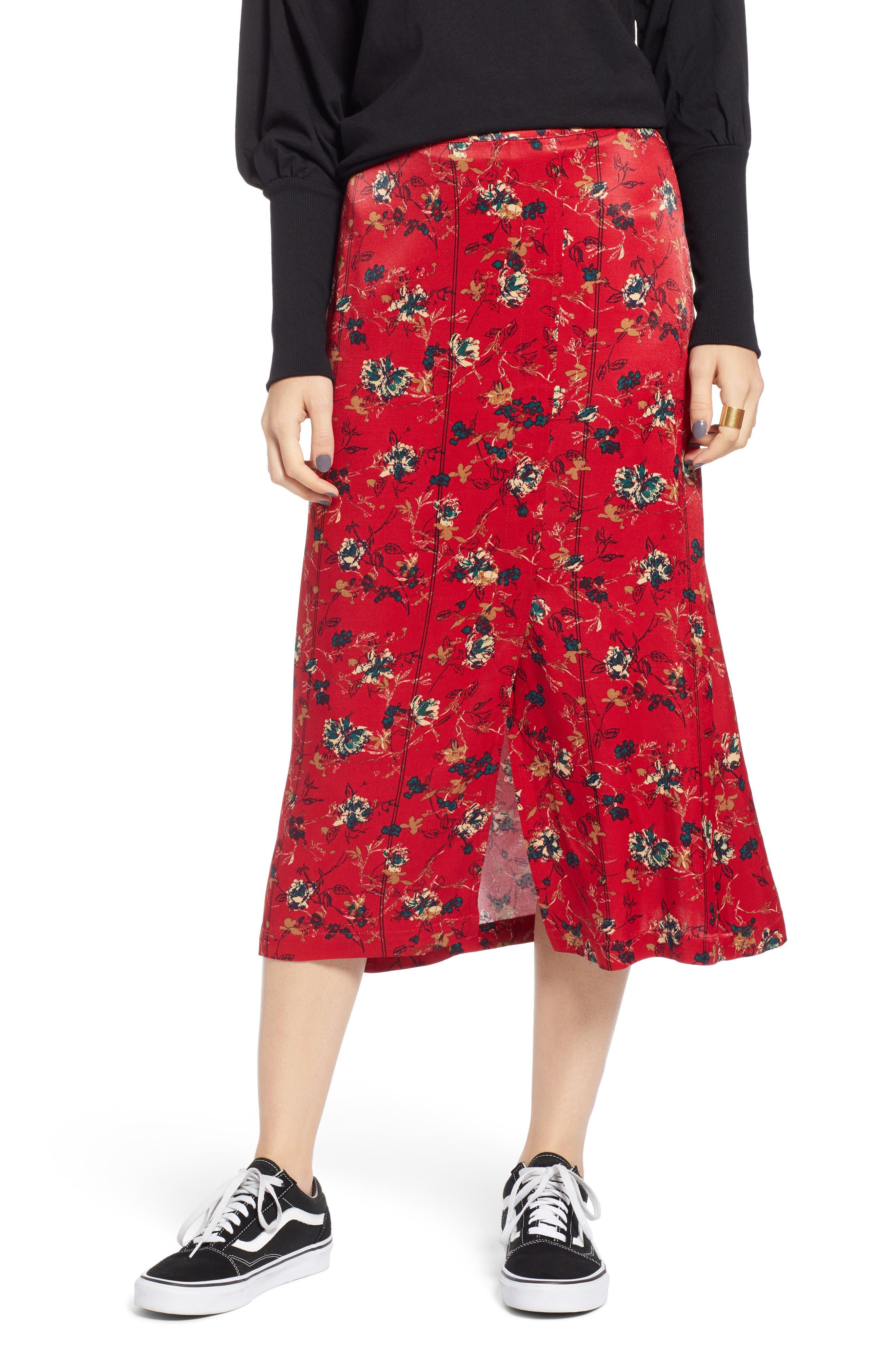 Treasure & Bond Floral Midi Skirt, Red