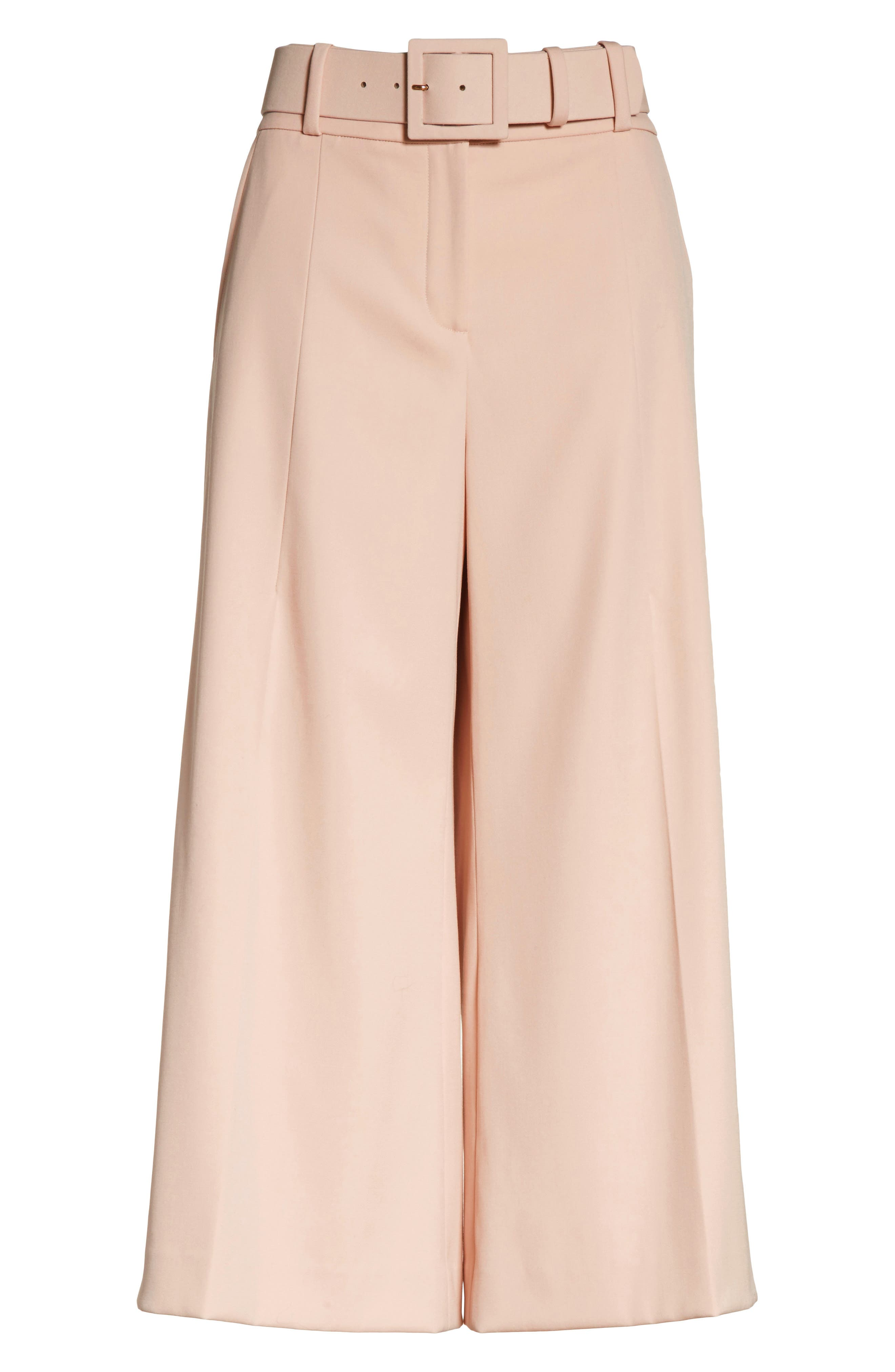 Stretch Wool Gabardine Culottes,                             Alternate thumbnail 6, color,                             690