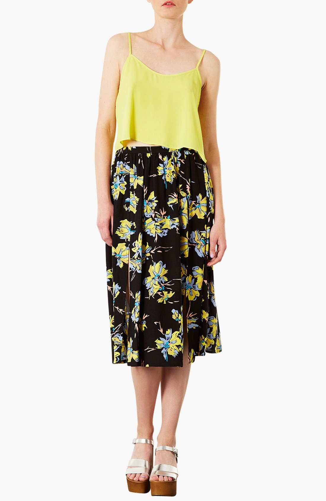 TOPSHOP,                             Dark Floral Midi Skirt,                             Alternate thumbnail 2, color,                             001