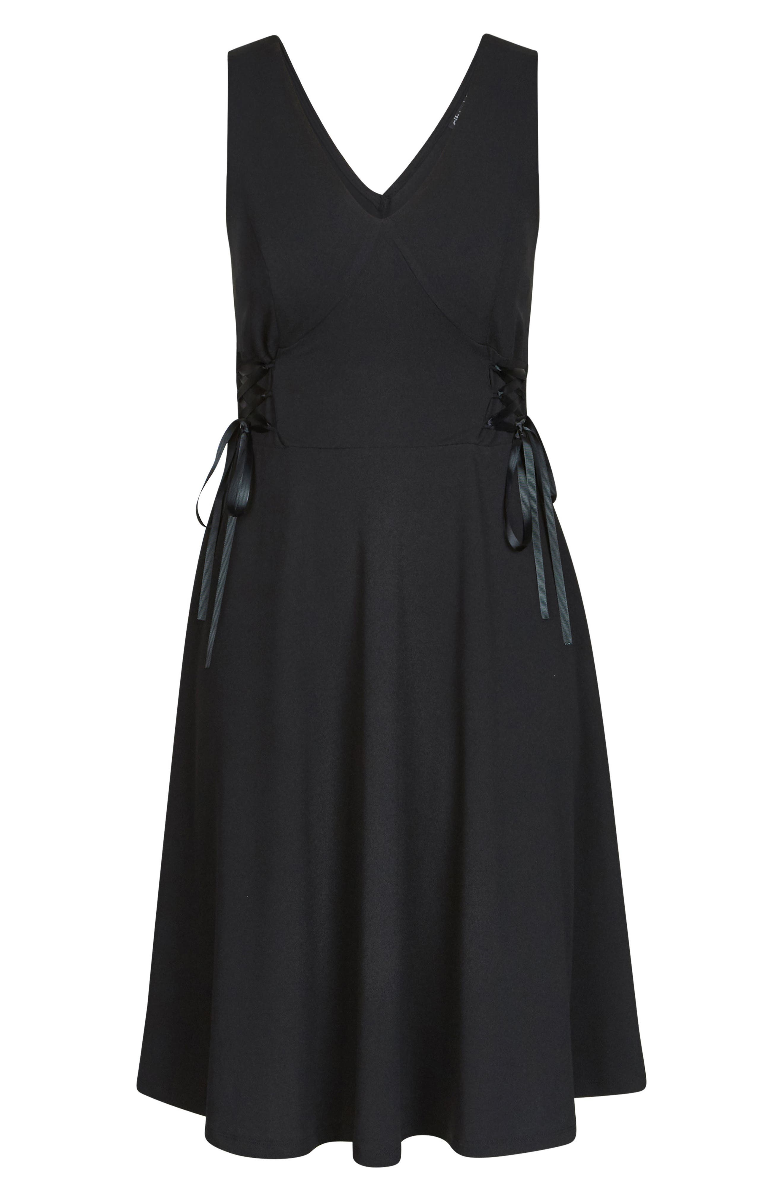 CITY CHIC,                             Fit & Flare Dress,                             Alternate thumbnail 3, color,                             011