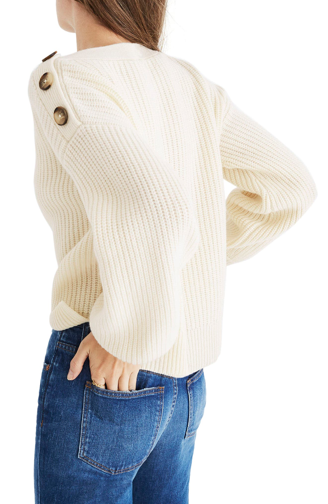 Boatneck Bubble Sleeve Sweater,                             Alternate thumbnail 2, color,                             100