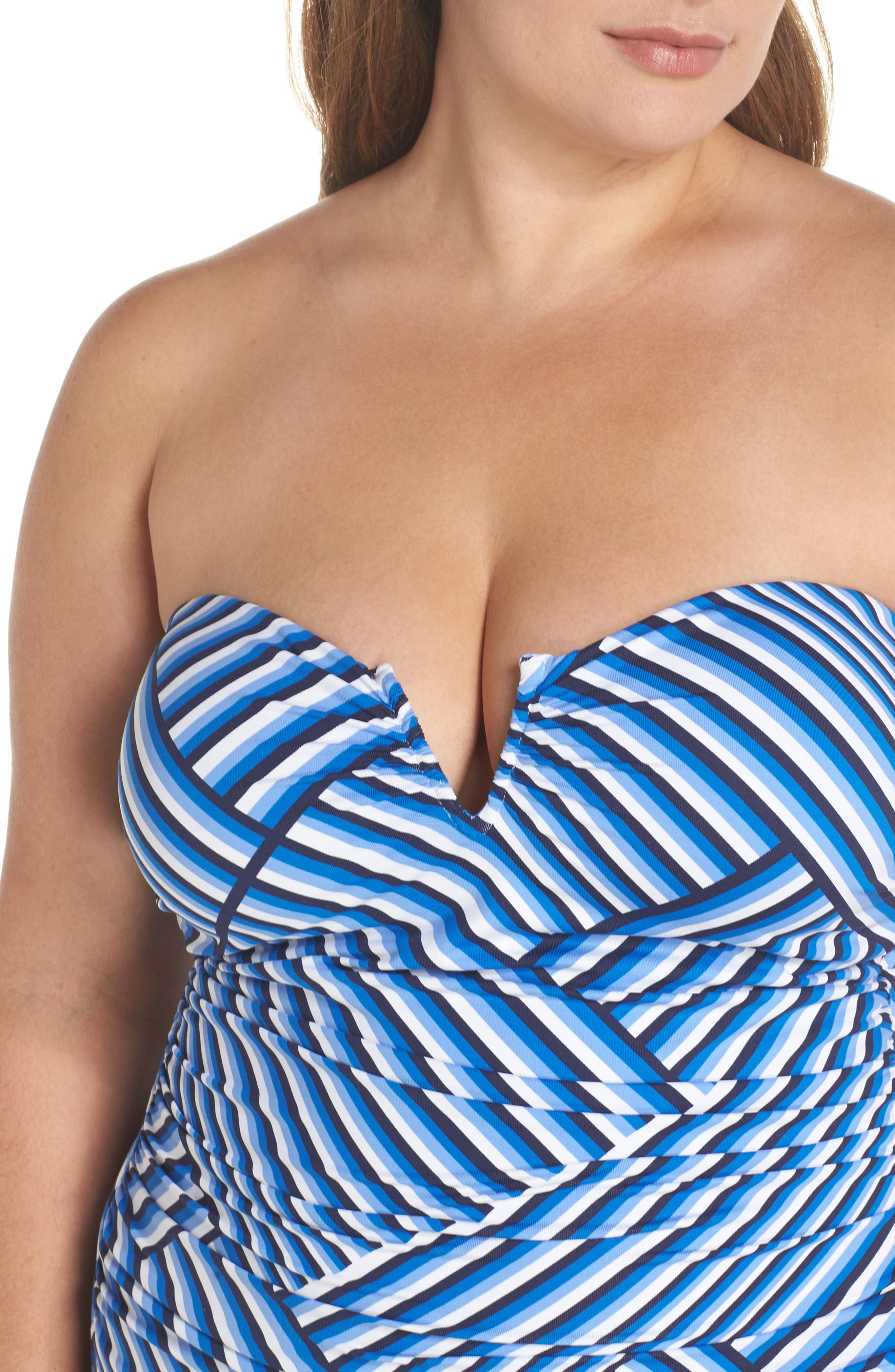 Fronds V-Wire Bandeau One-Piece,                             Alternate thumbnail 5, color,                             100