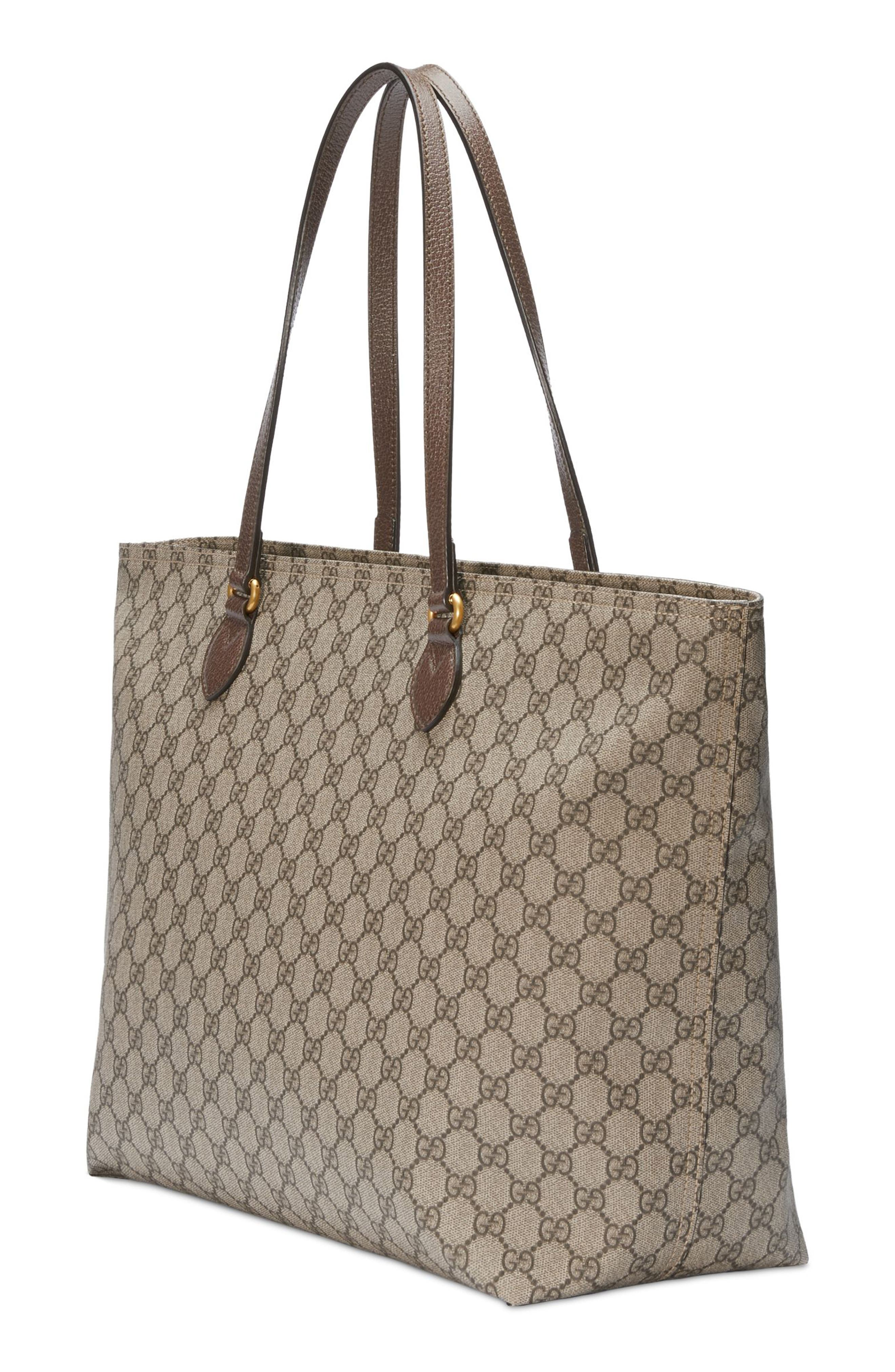 Medium Ophidia Soft GG Supreme Canvas Tote,                             Alternate thumbnail 4, color,                             BEIGE EBONY/ NEW ACERO