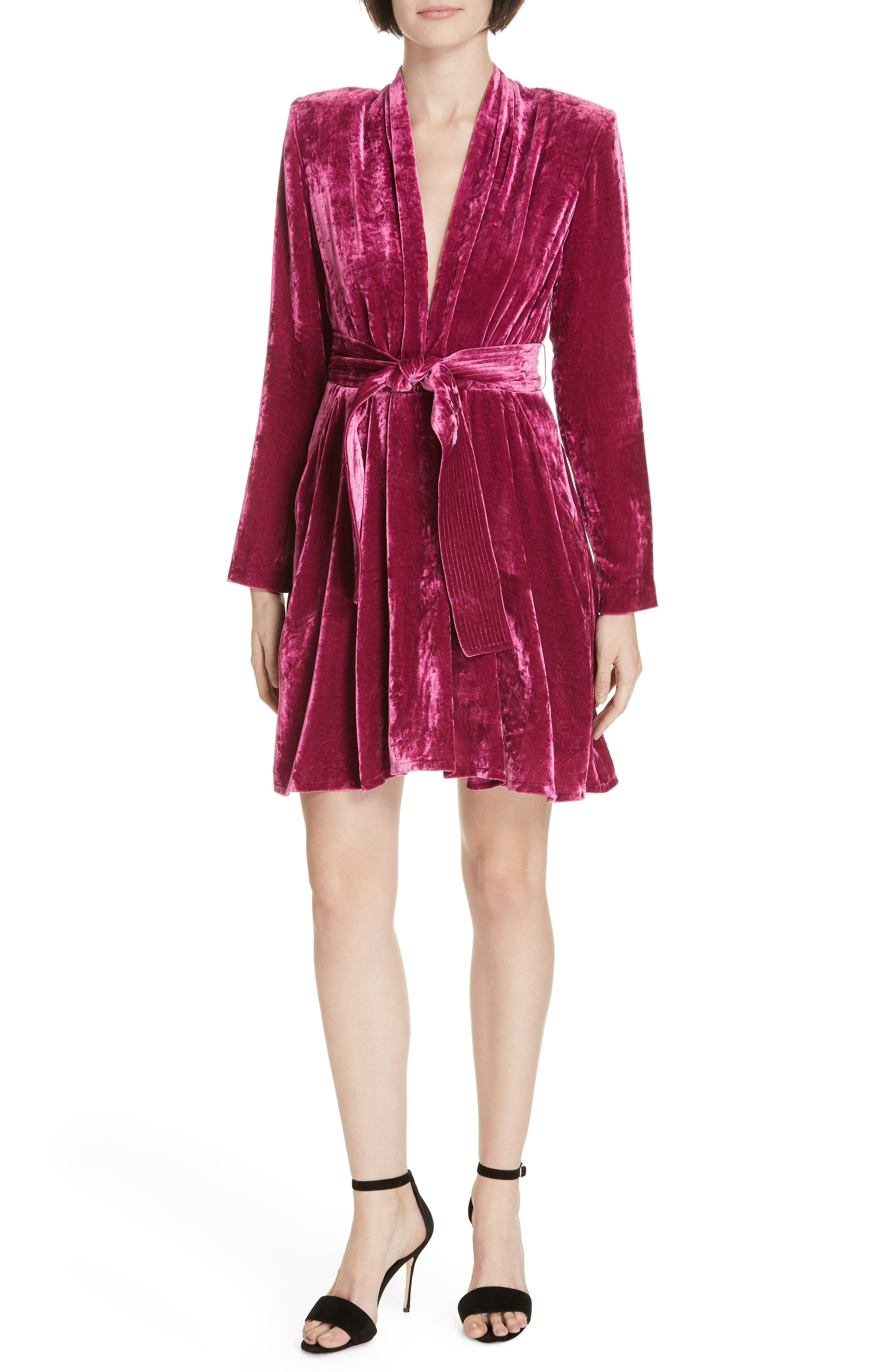 A.l.c. Kiera Crushed Velvet Minidress, Pink