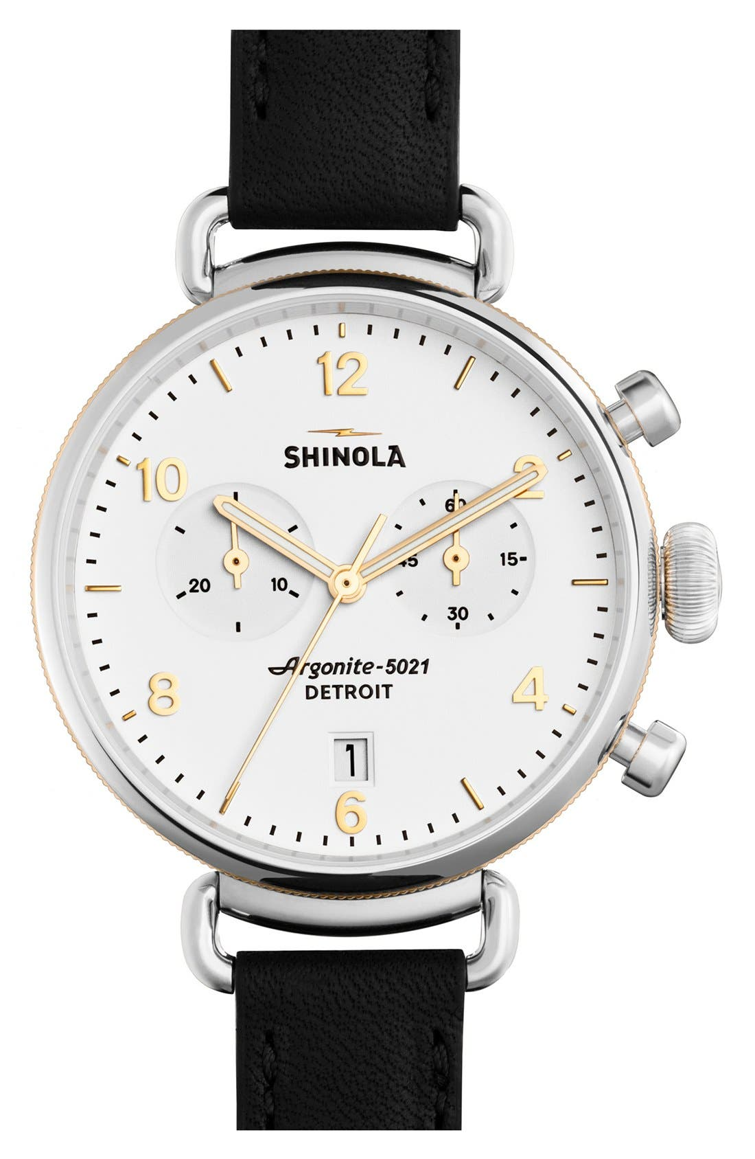 'The Canfield Chrono' Leather Strap Watch, 38mm,                         Main,                         color, BLACK/ WHITE