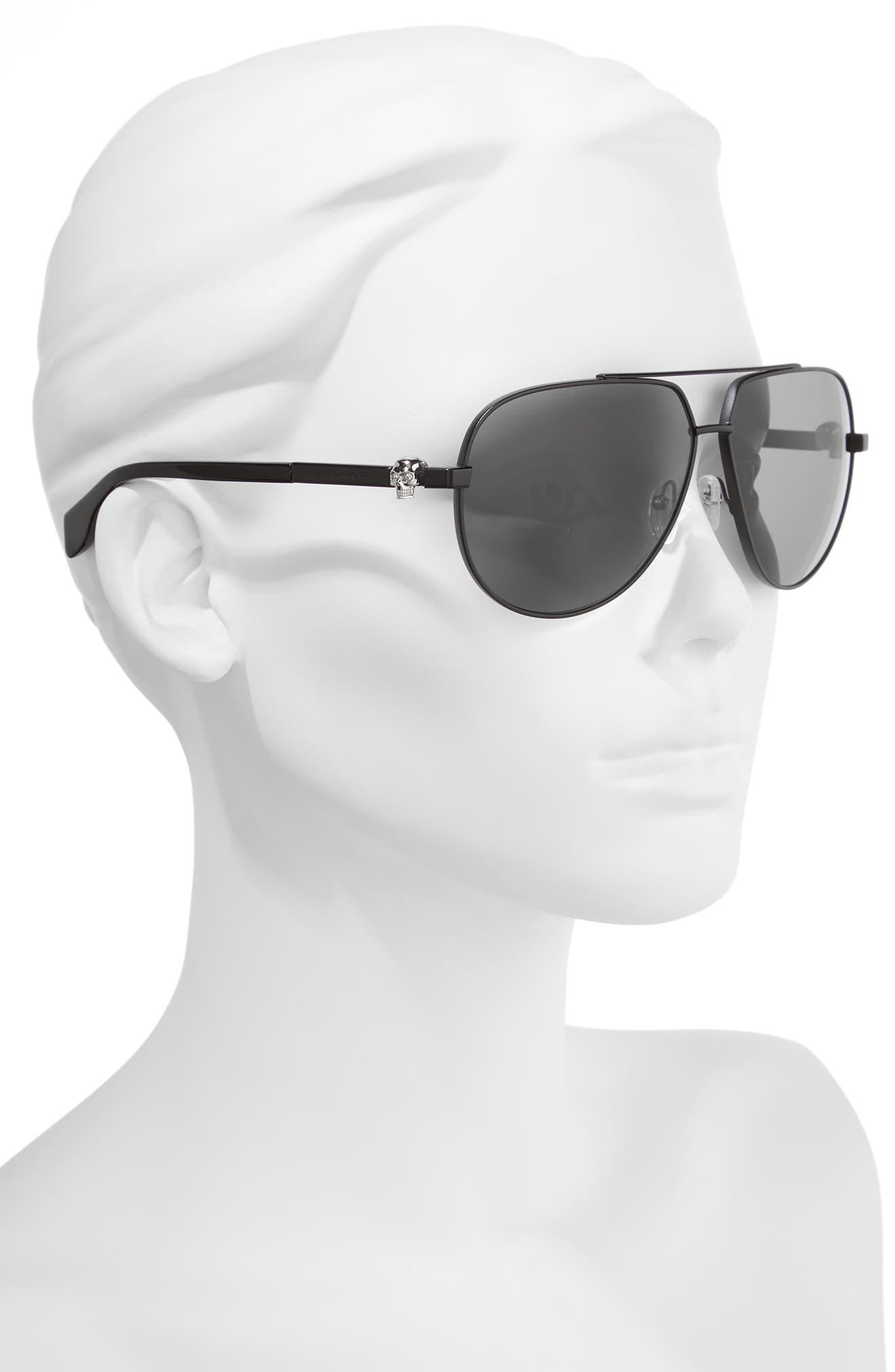 63mm Aviator Sunglasses,                             Alternate thumbnail 2, color,                             001
