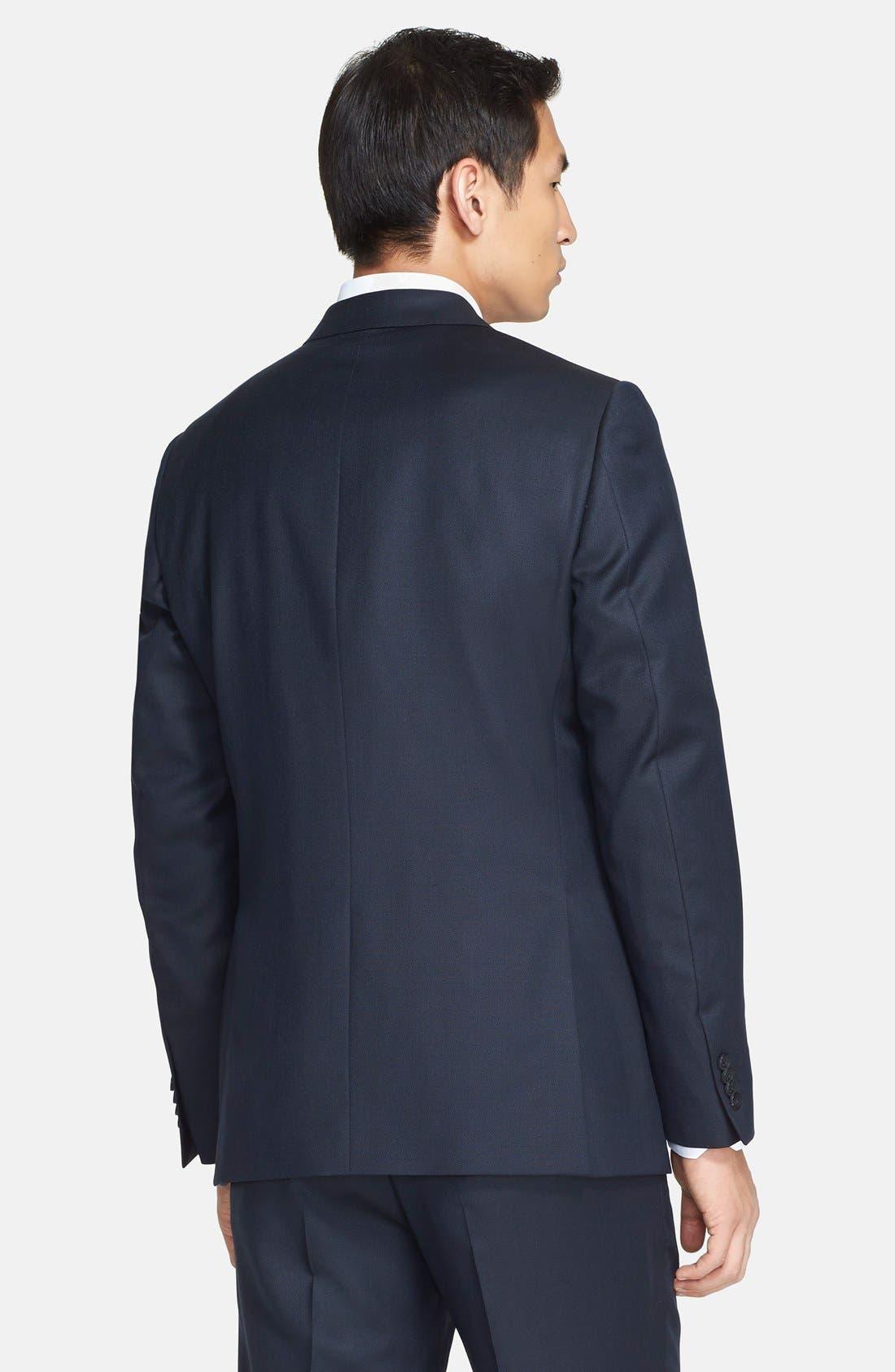 Trim Fit Navy Tic Weave Wool Suit,                             Alternate thumbnail 4, color,                             412