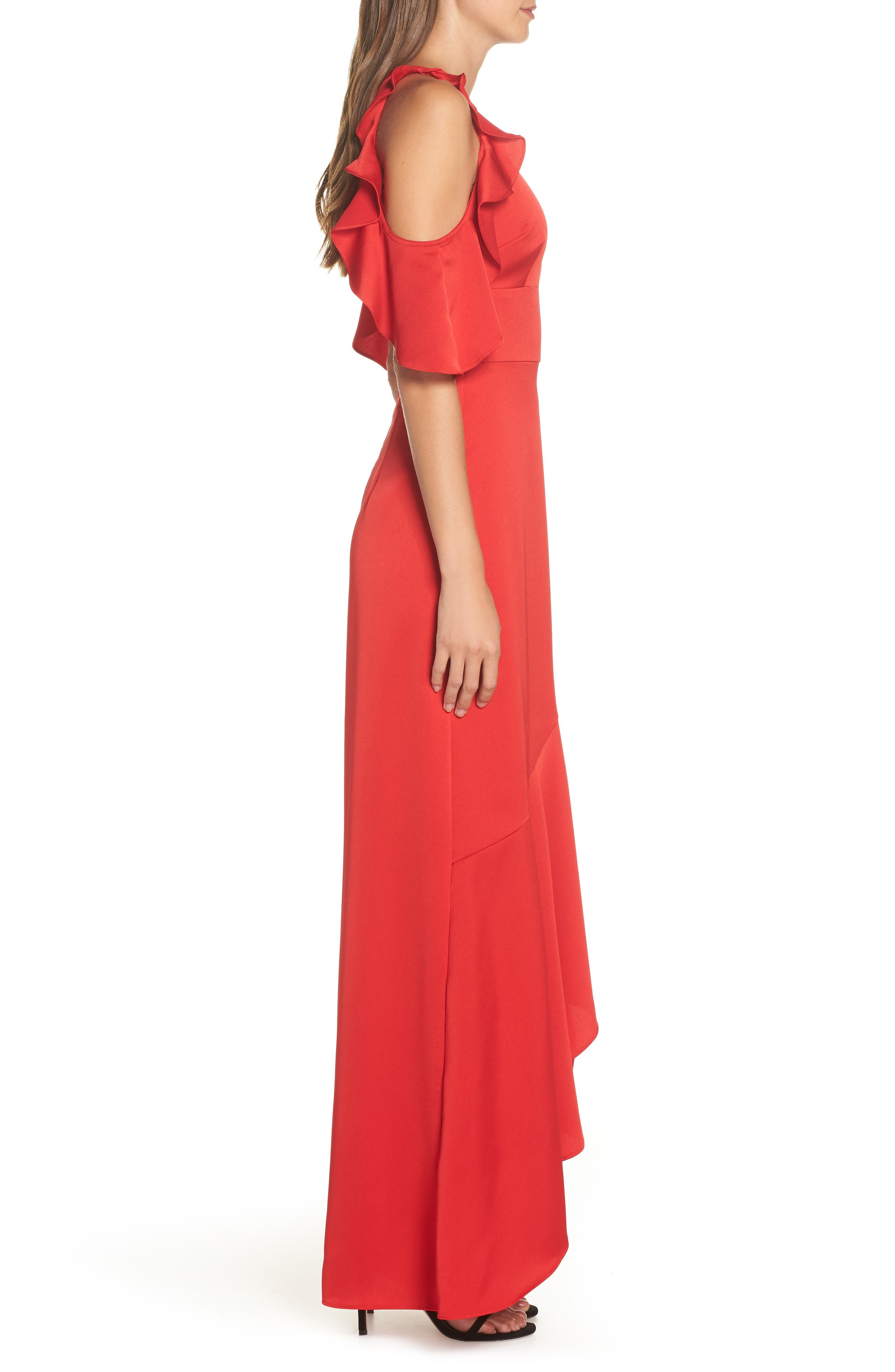 Ruffle Cold Shoulder Gown,                             Alternate thumbnail 3, color,                             RED