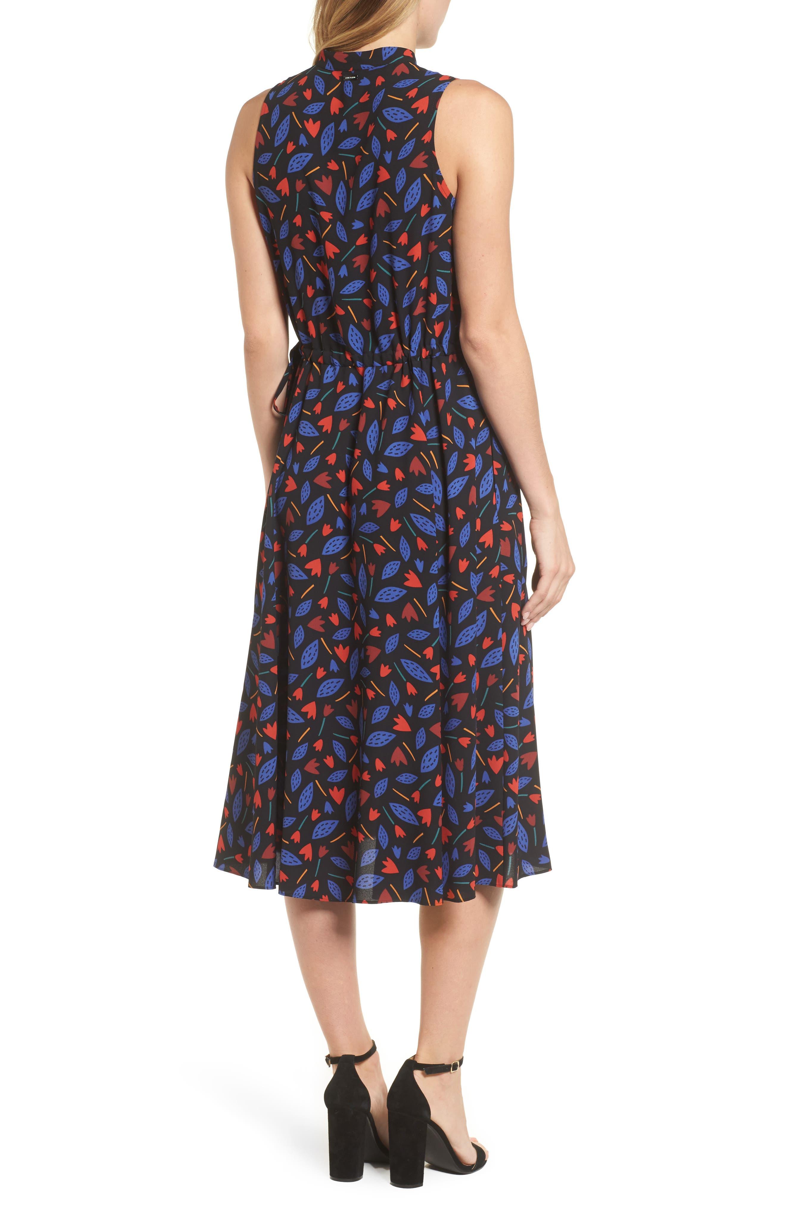 Print Drawstring Midi Dress,                             Alternate thumbnail 2, color,