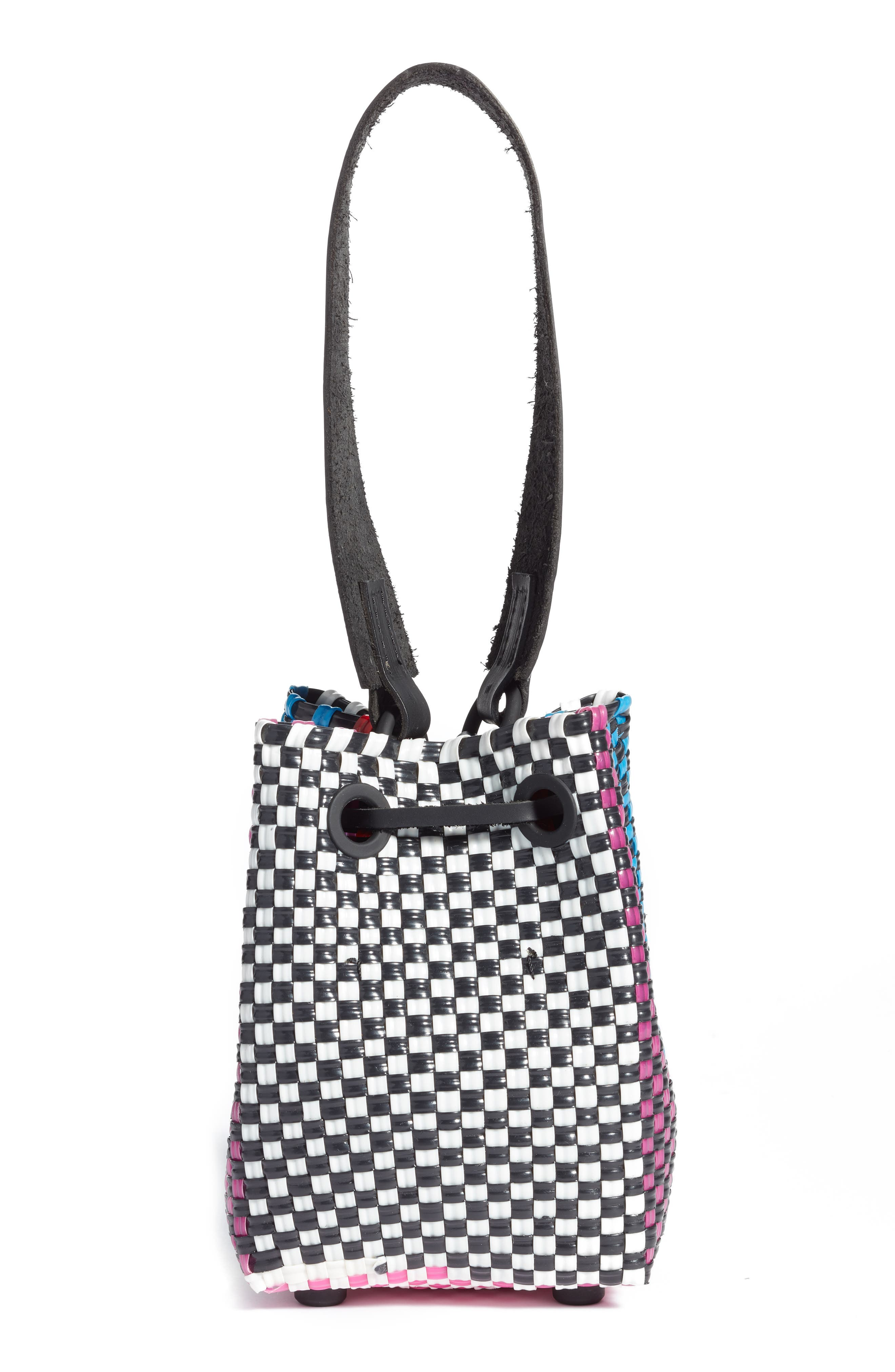 Party Woven Bucket Bag,                             Alternate thumbnail 3, color,                             FUCHSIA/ RED