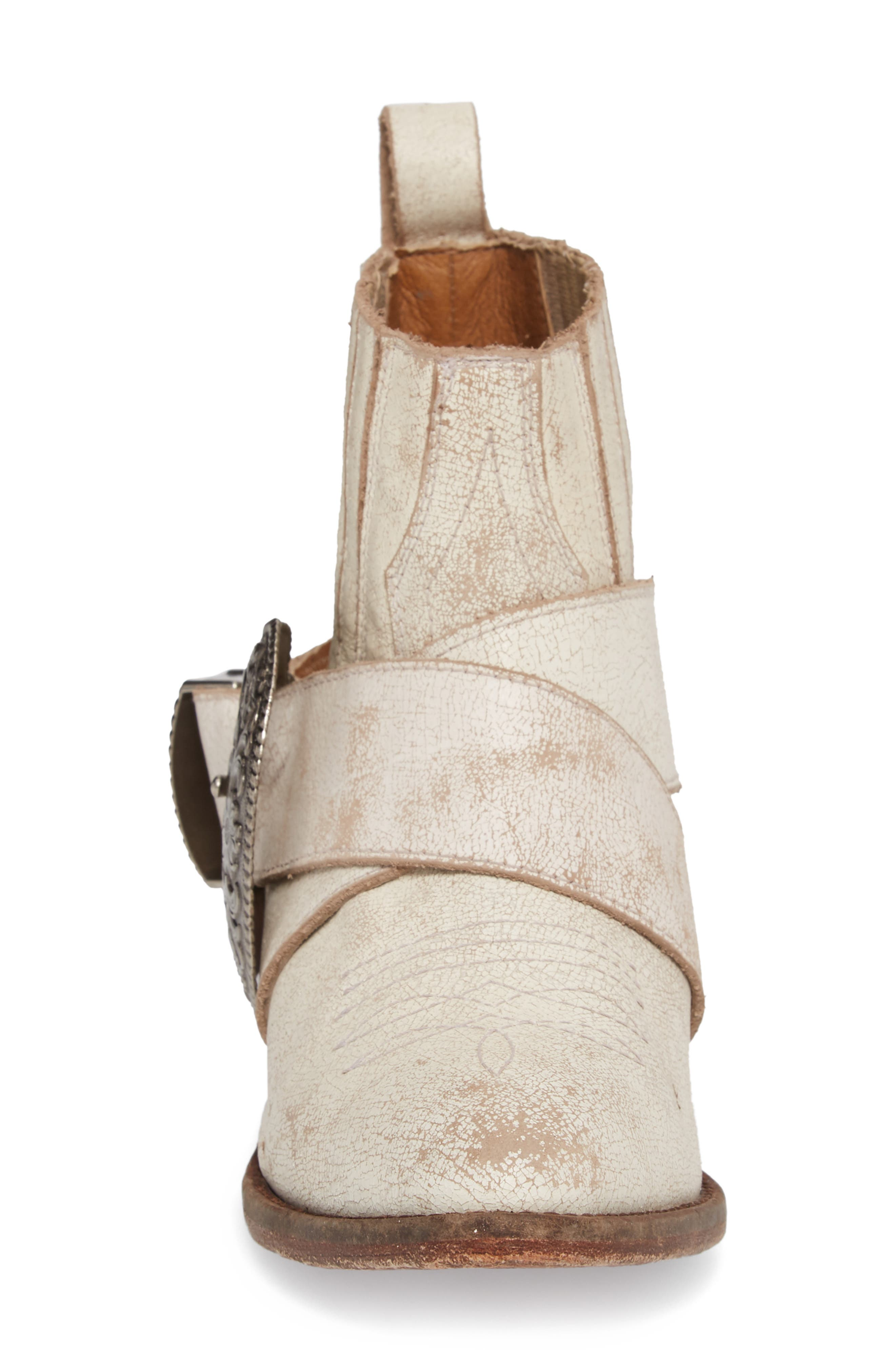 Western Biker Bootie,                             Alternate thumbnail 4, color,                             WHITE LEATHER