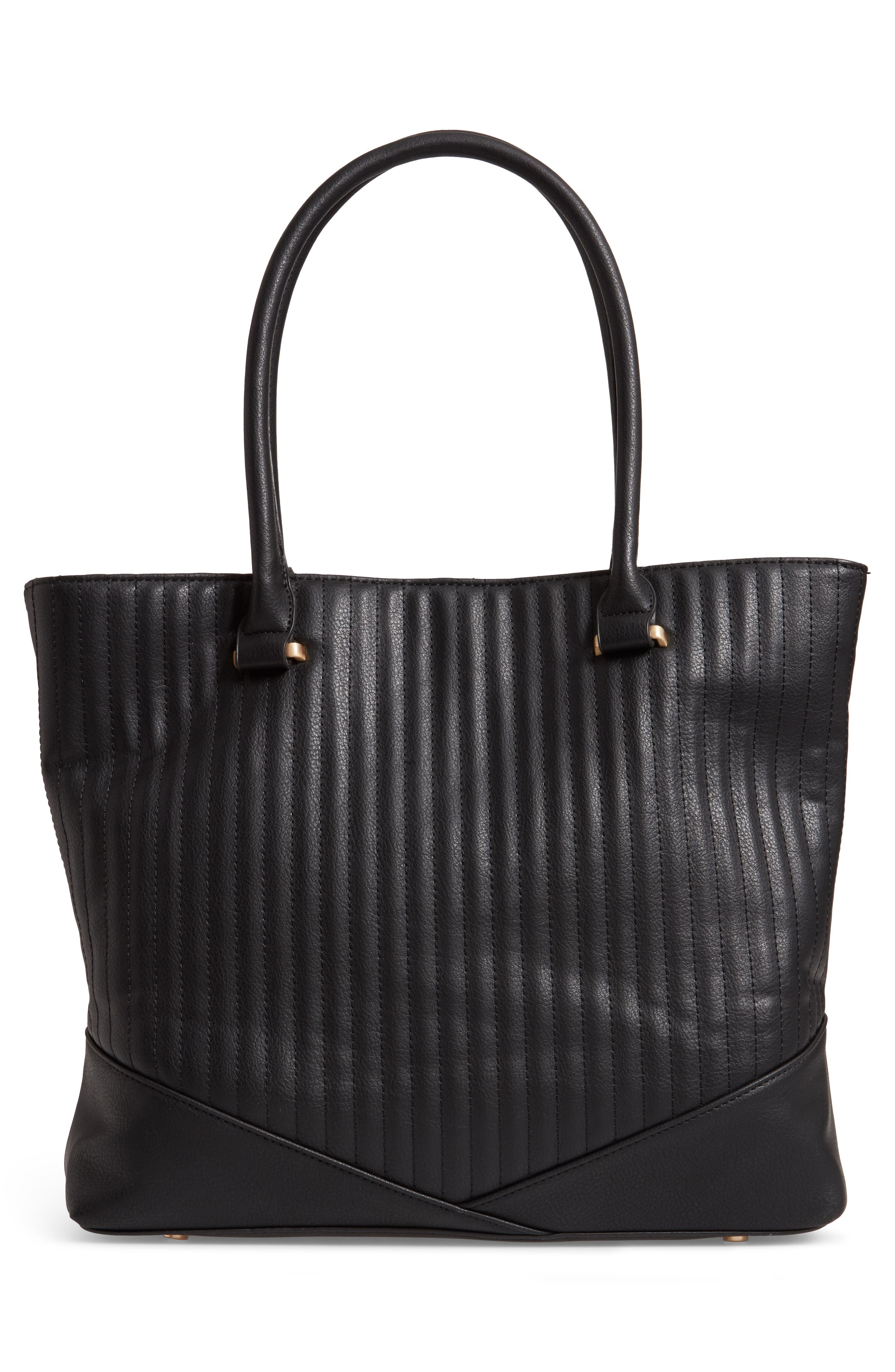 Urche Quilted Faux Leather Tote,                             Alternate thumbnail 3, color,                             BLACK