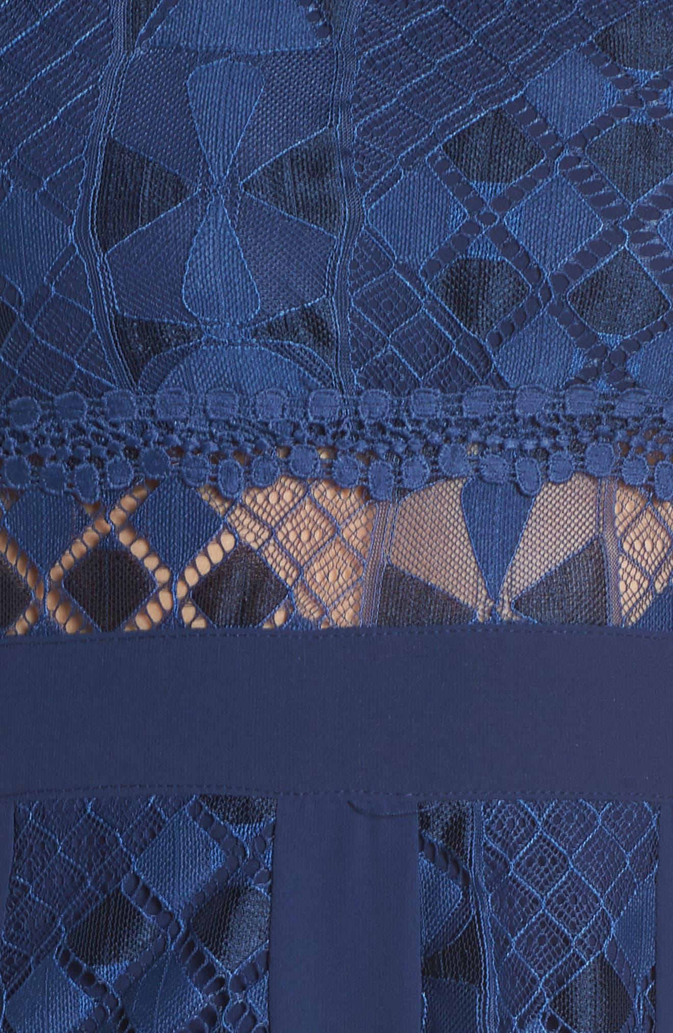 Juliet One-Shoulder Lace Gown,                             Alternate thumbnail 6, color,                             NAVY
