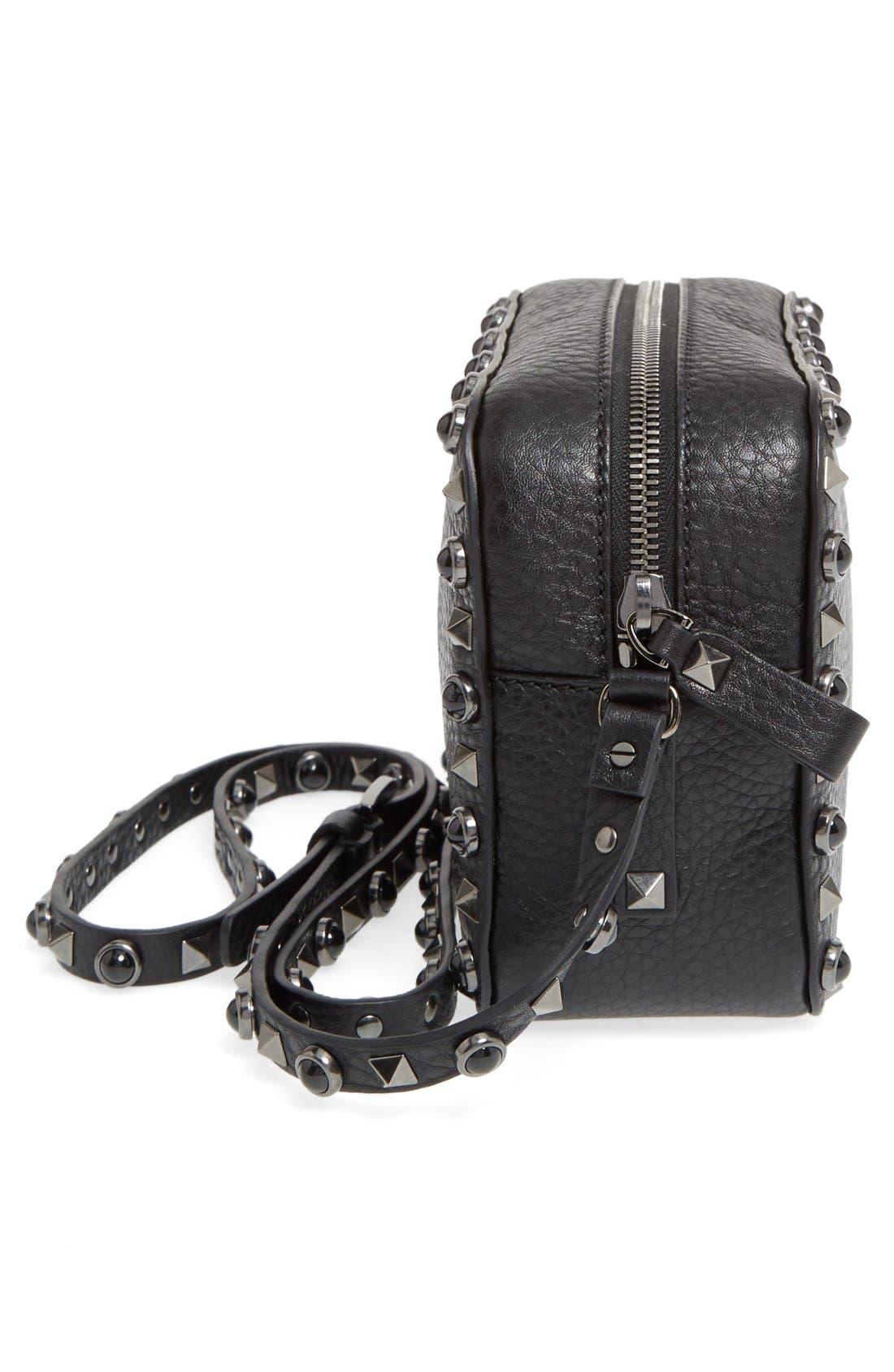 'Rockstud Noir' Camera Crossbody Bag,                             Alternate thumbnail 4, color,                             001