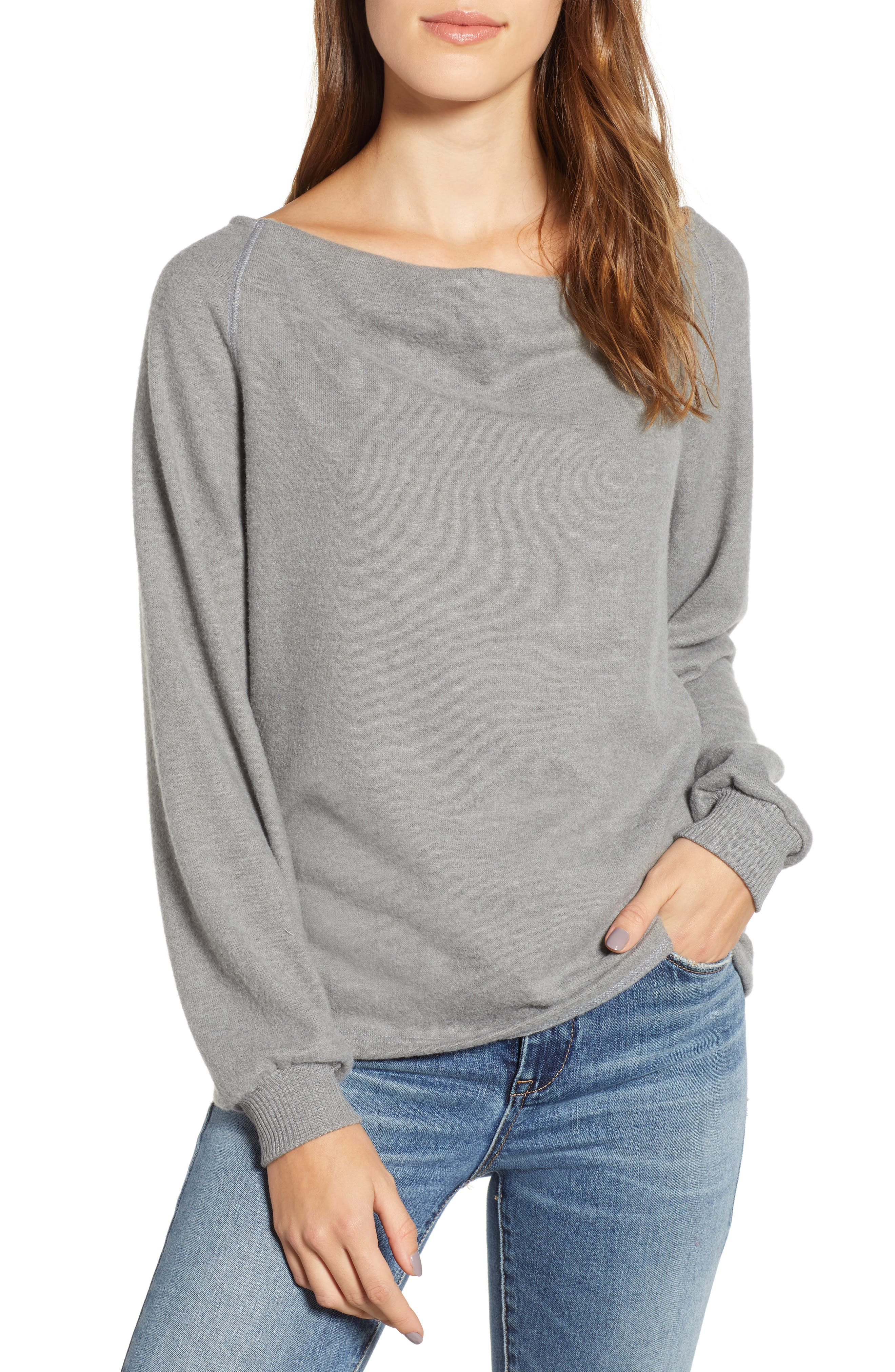 PROJECT SOCIAL T Elm Knit Cowl Neck Top in Eiffel Tower