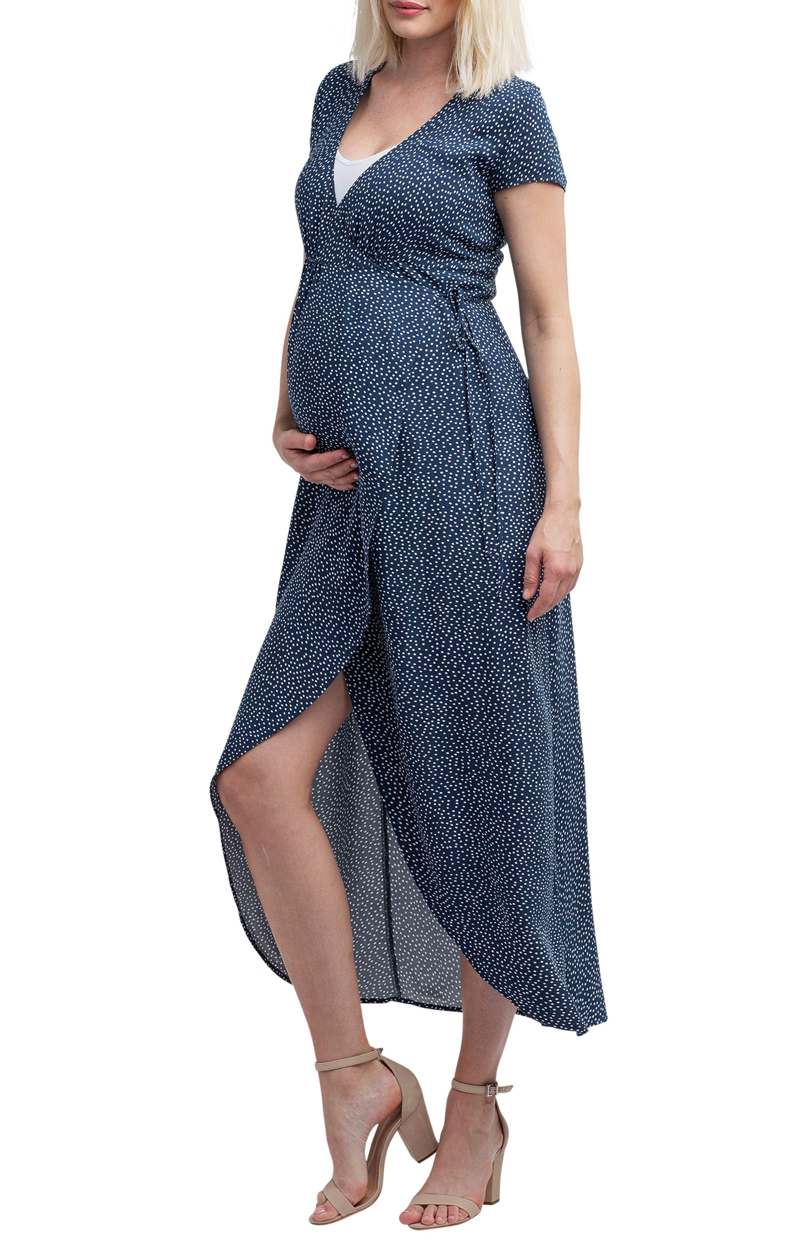 NOM MATERNITY,                             Delilah Maternity/Nursing Wrap Maxi Dress,                             Alternate thumbnail 3, color,                             400