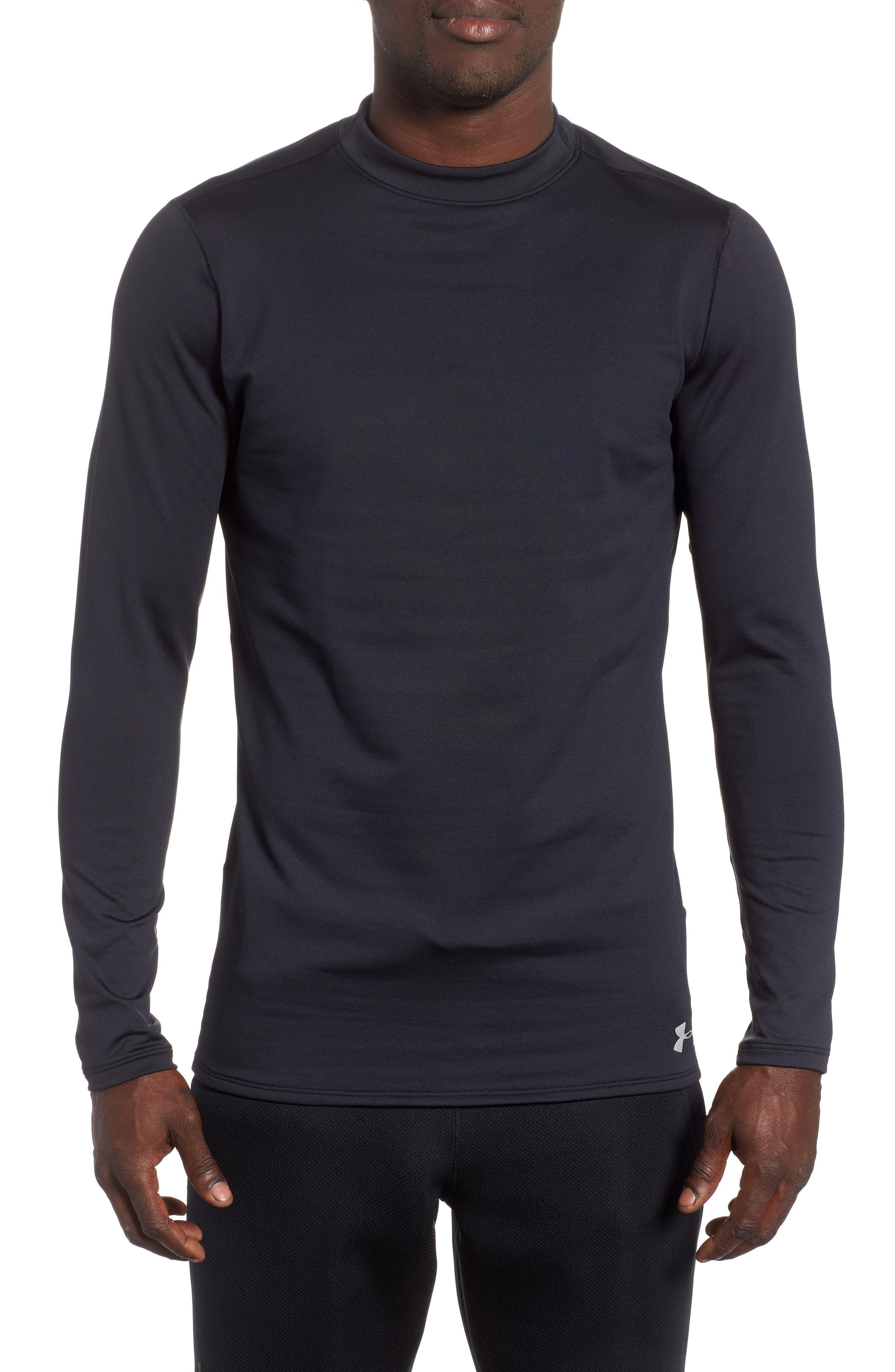 ColdGear<sup>®</sup> Mock Neck Long Sleeve T-Shirt,                             Main thumbnail 1, color,                             BLACK/ STEEL