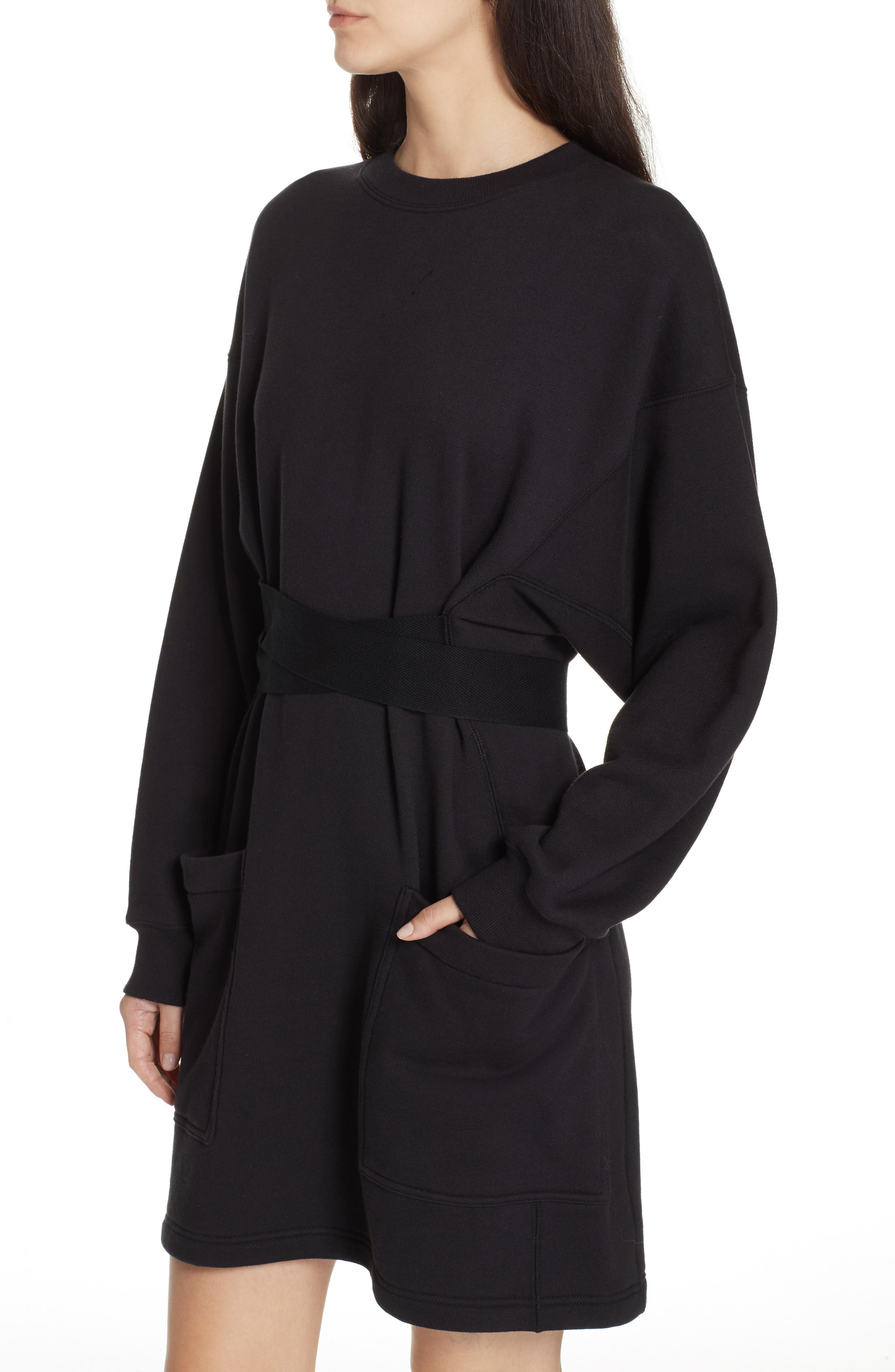 PSWL Belted Sweatshirt Dress,                             Alternate thumbnail 4, color,                             BLACK